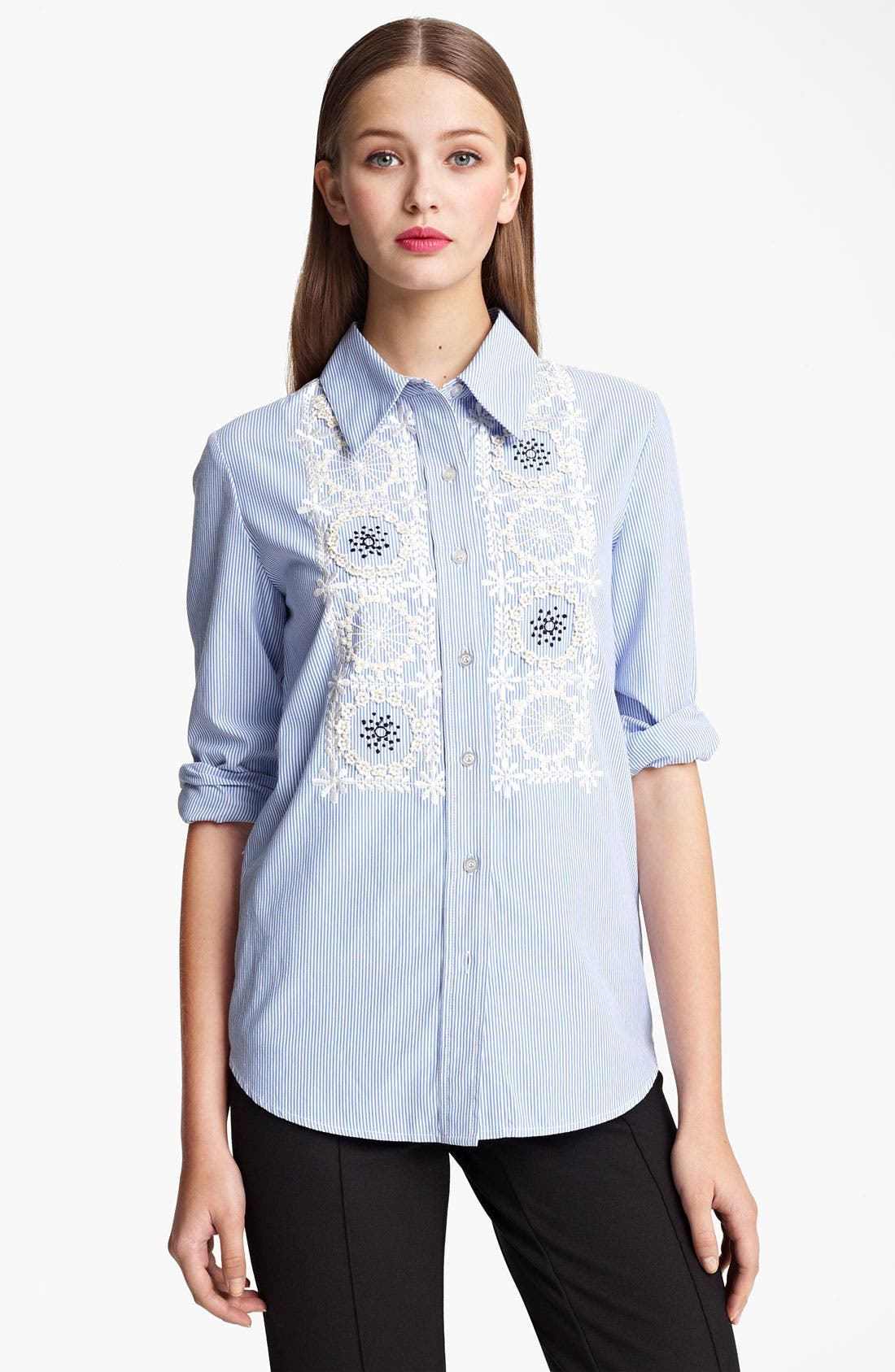 Alternate Image 1 Selected - Moschino Cheap & Chic Embroidered Bib Pinstripe Shirt