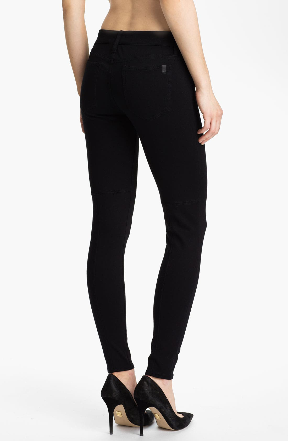 Skinny Ponte Knit Pants,                             Alternate thumbnail 2, color,                             Black