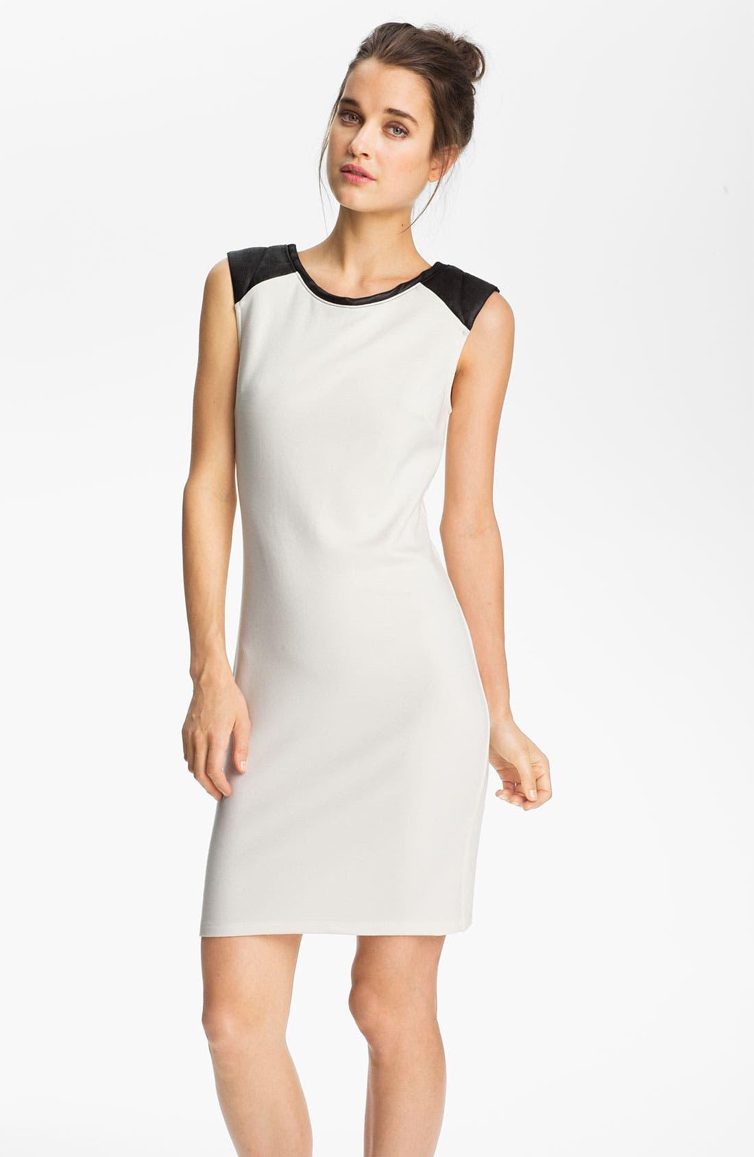 Main Image - Velvet by Graham & Spencer Faux Leather Shoulder Dress