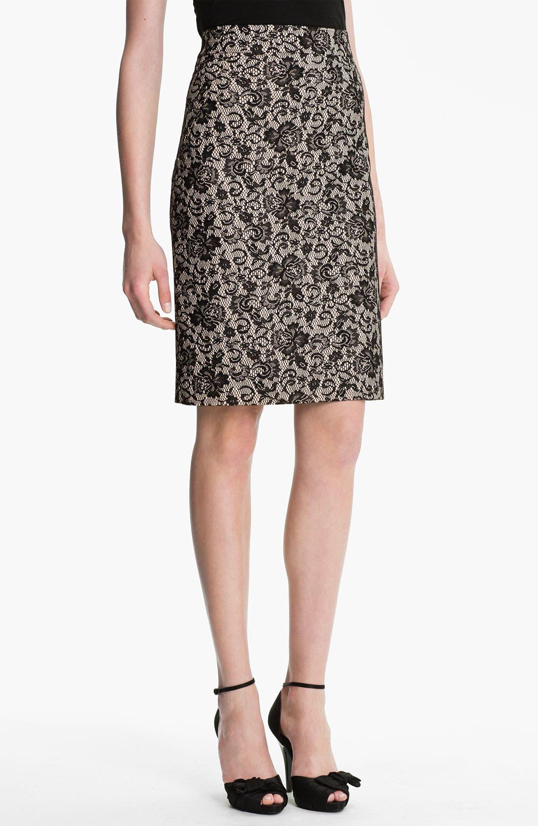 Main Image - Kay Unger Back Godet Lace Jacquard Pencil Skirt