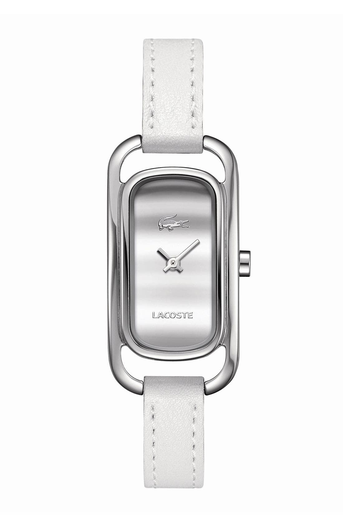 Main Image - Lacoste 'Sienna' Rectangular Leather Strap Watch, 20mm