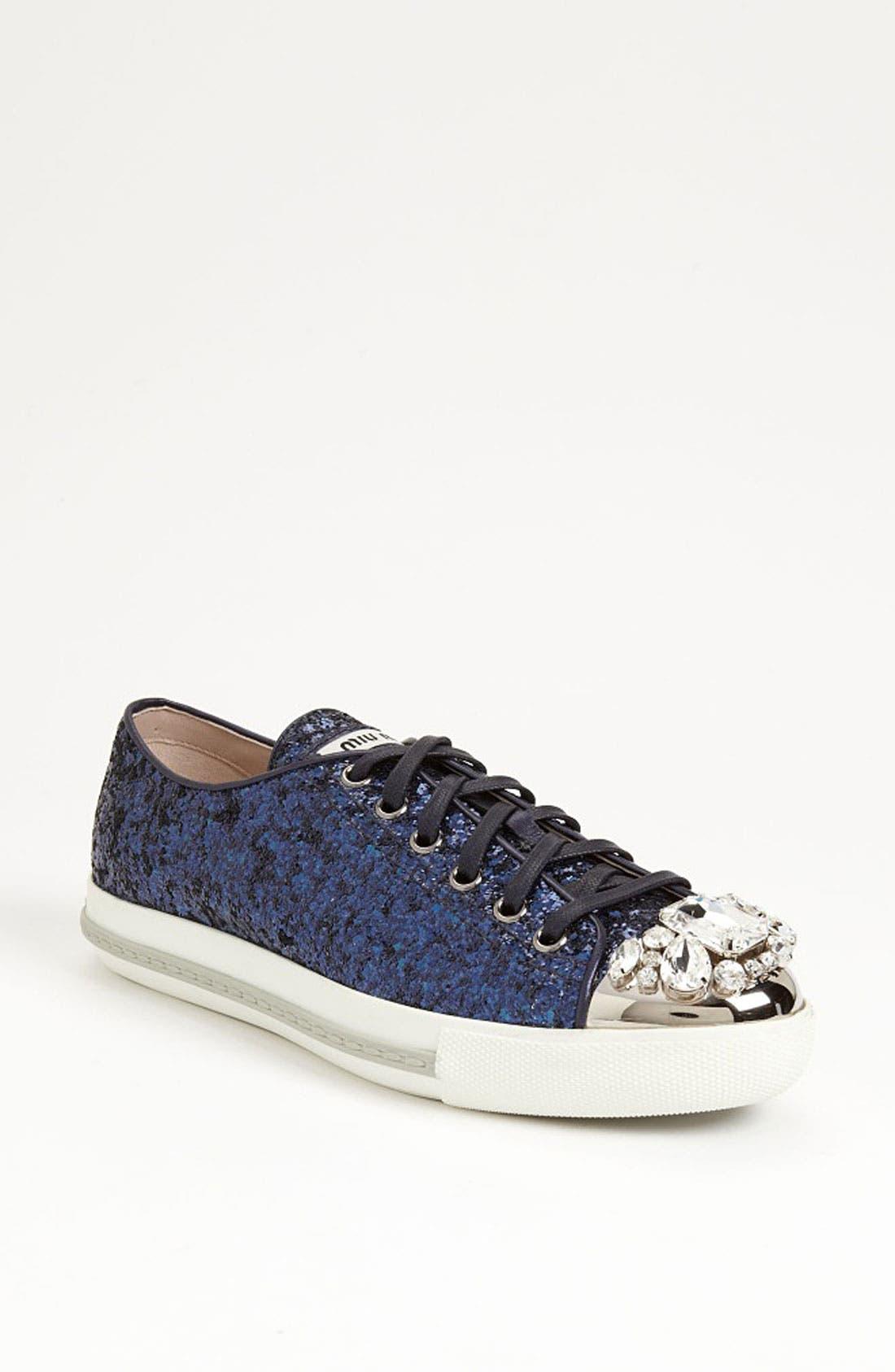 Main Image - Miu Miu Glitter Crystal Toe Sneaker
