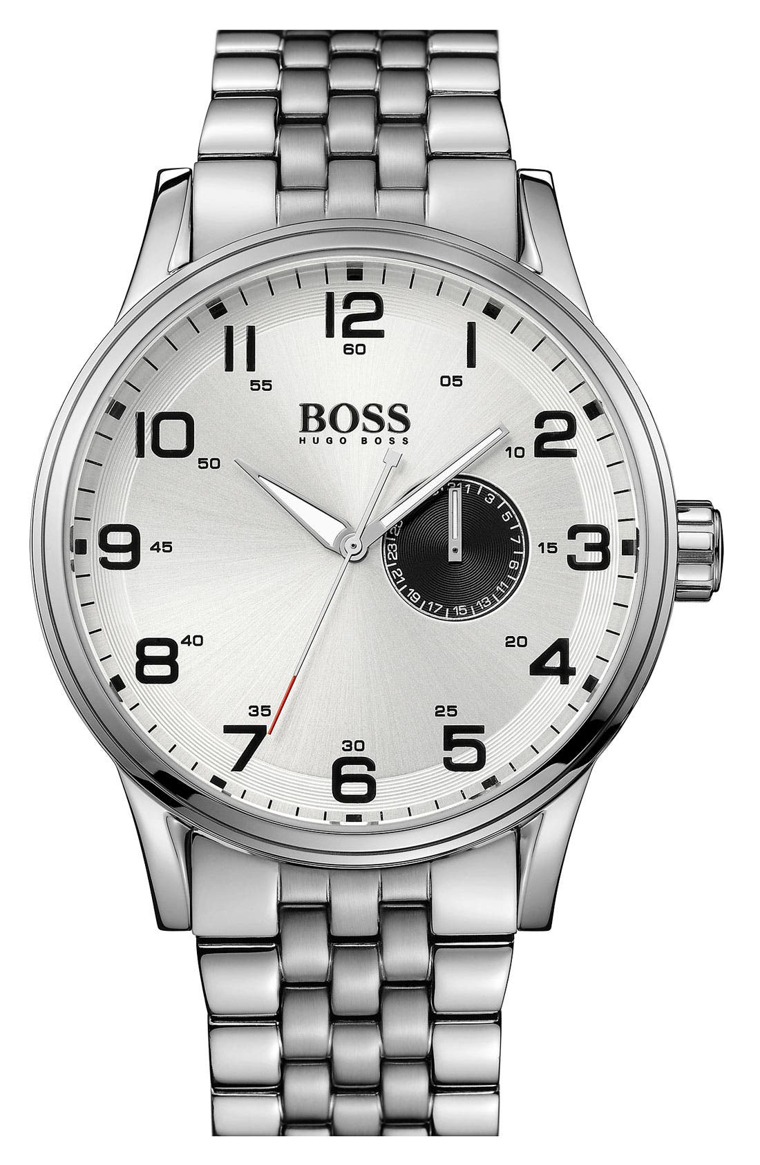 Alternate Image 1 Selected - BOSS HUGO BOSS 'Aviator' Round Bracelet Watch, 44mm