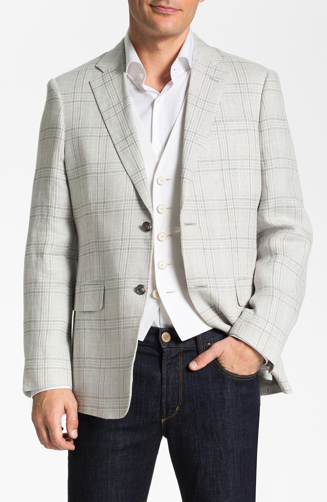 Alternate Image 1 Selected - John W. Nordstrom® Linen Plaid Sportcoat