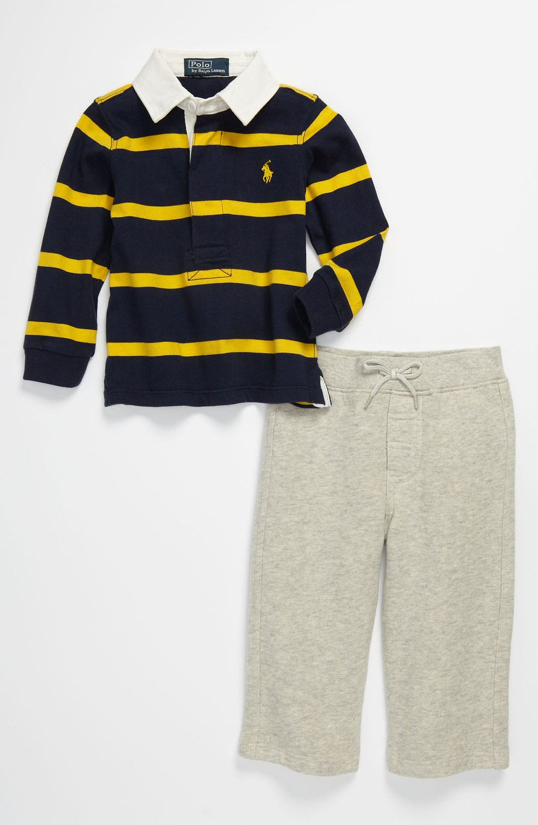 Alternate Image 1 Selected - Ralph Lauren Stripe Shirt & Pants (Infant)