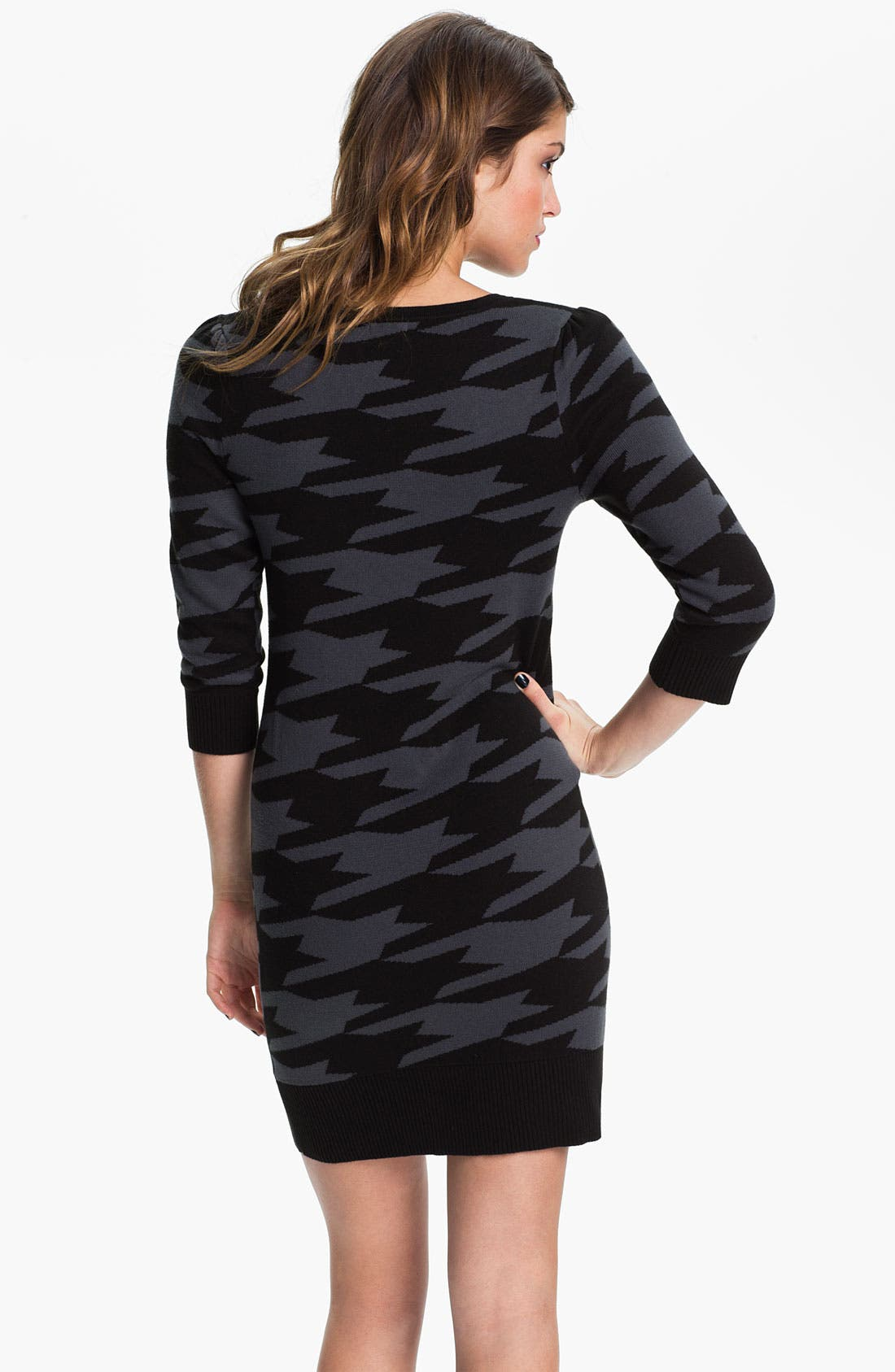 Alternate Image 2  - Frenchi® Ribbed Trim Sweater Dress (Juniors)