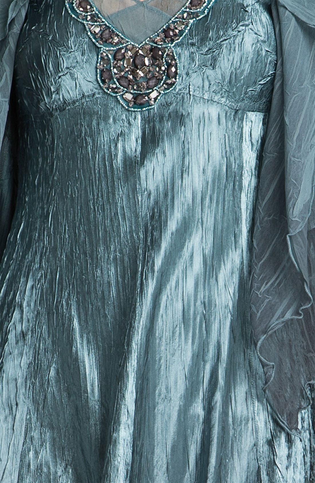 Alternate Image 3  - Komarov Beaded Pleated Charmeuse Dress & Jacket (Regular & Petite)