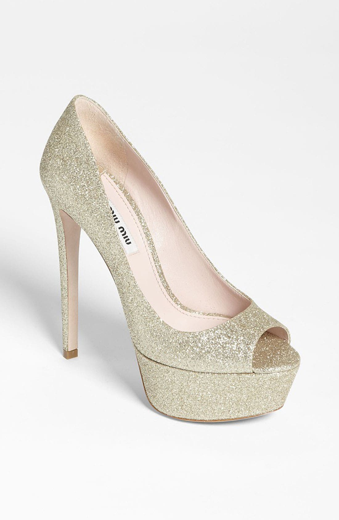 Alternate Image 1 Selected - Miu Miu Glitter Peep Toe Pump