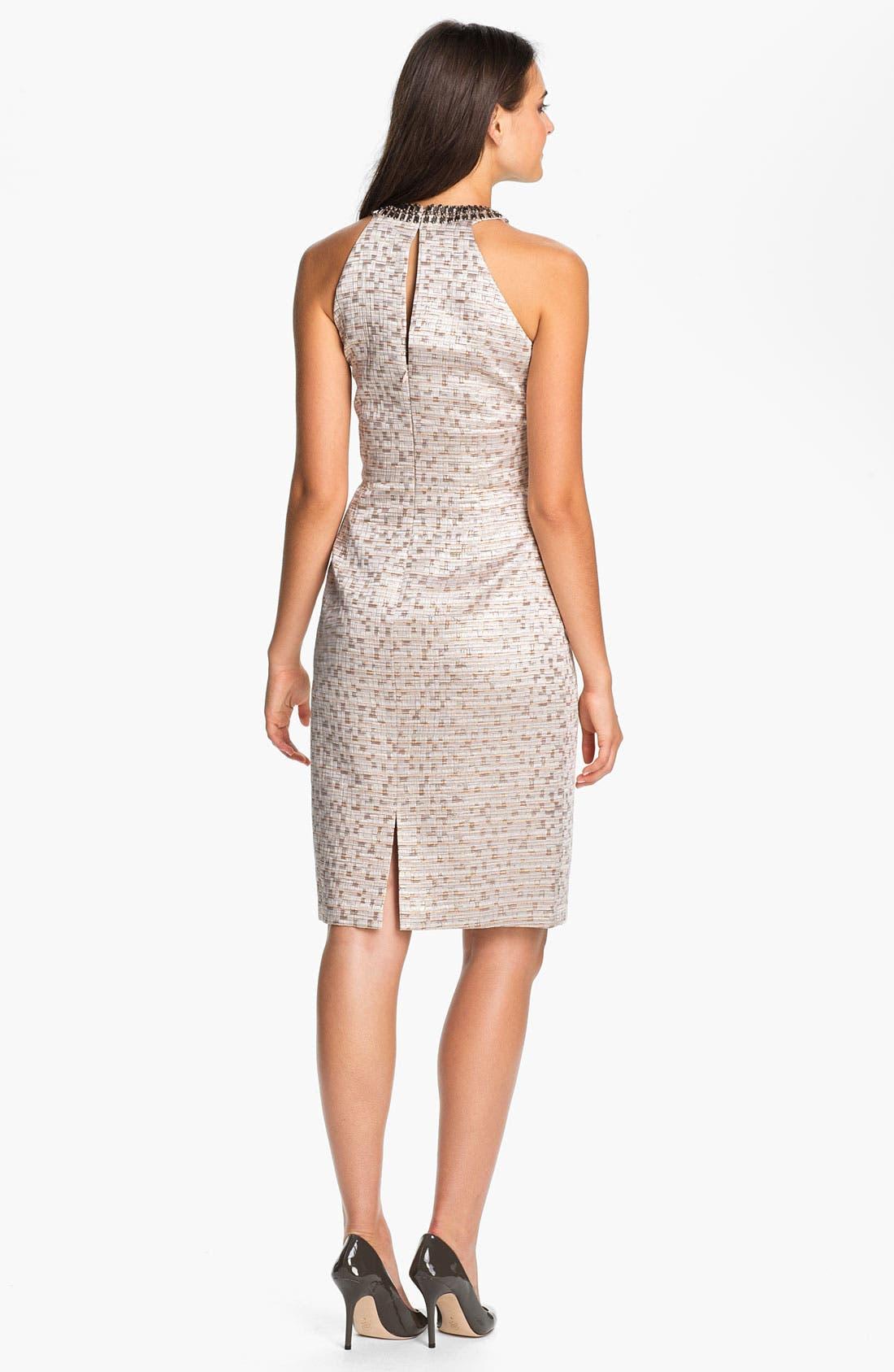 Alternate Image 2  - Maggy London Jewel Yoke Brocade Sheath Dress