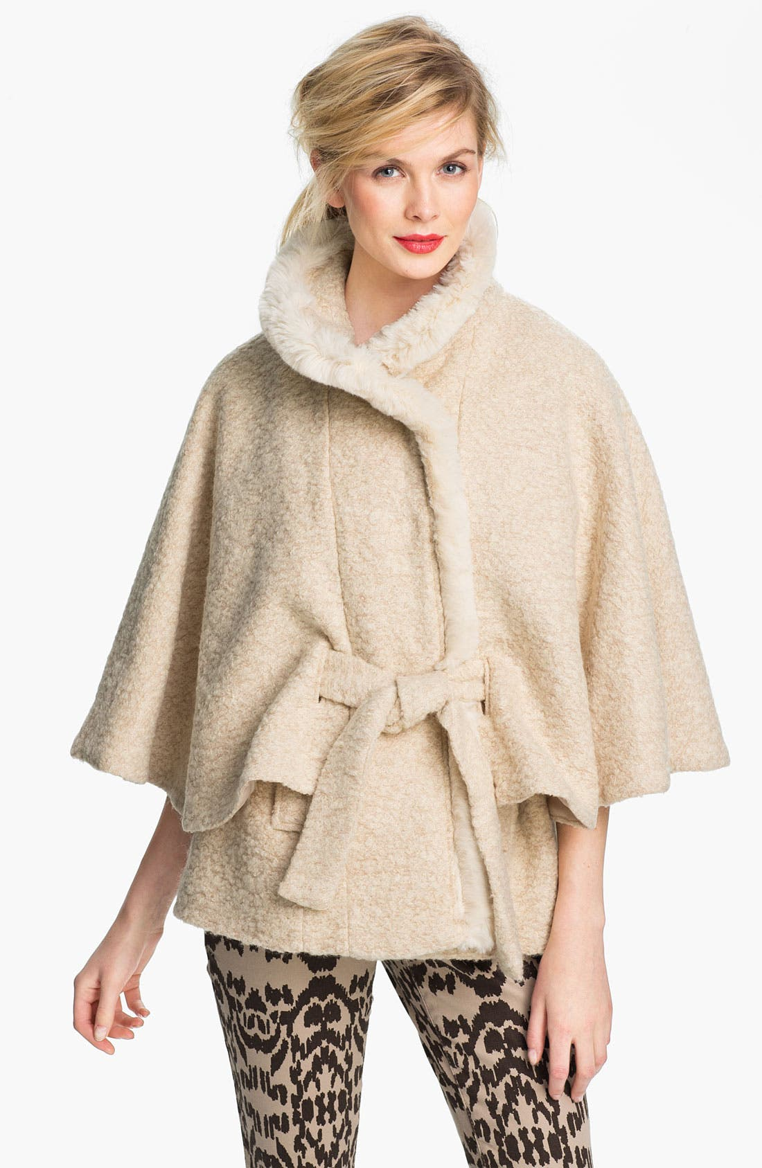 Alternate Image 1 Selected - Via Spiga Faux Fur Belted Cape (Online Exclusive)