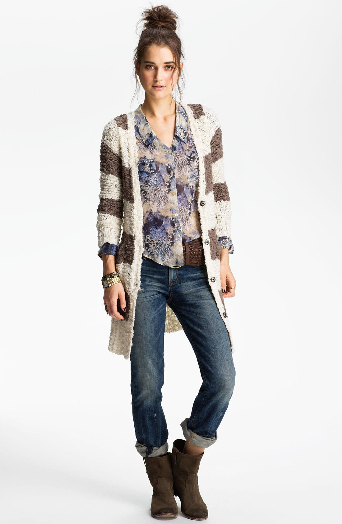 Main Image - Free People Stripe Bouclé Cardigan
