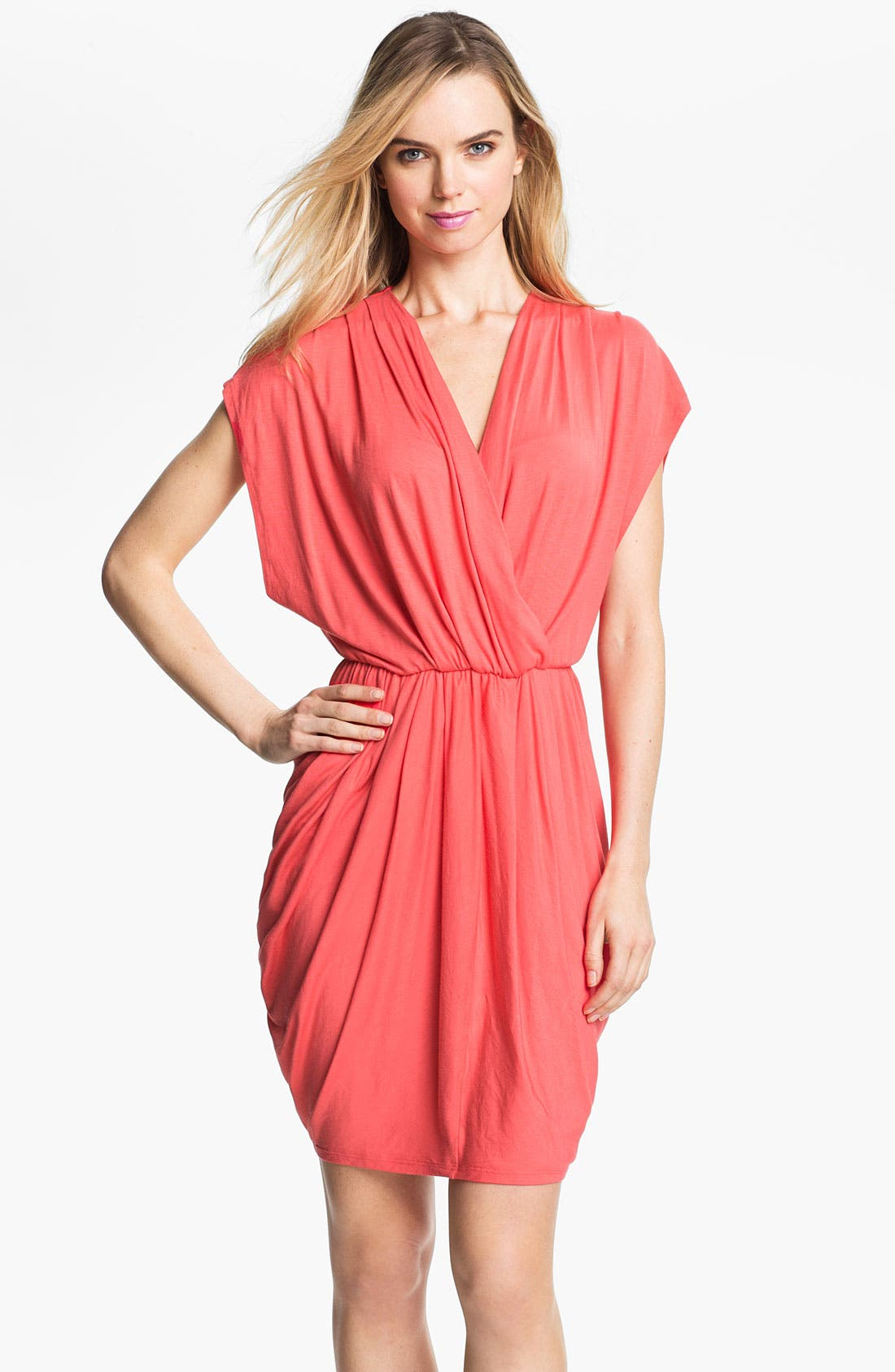 Alternate Image 1 Selected - Halogen® Faux Wrap Pleated Dress (Online Only)