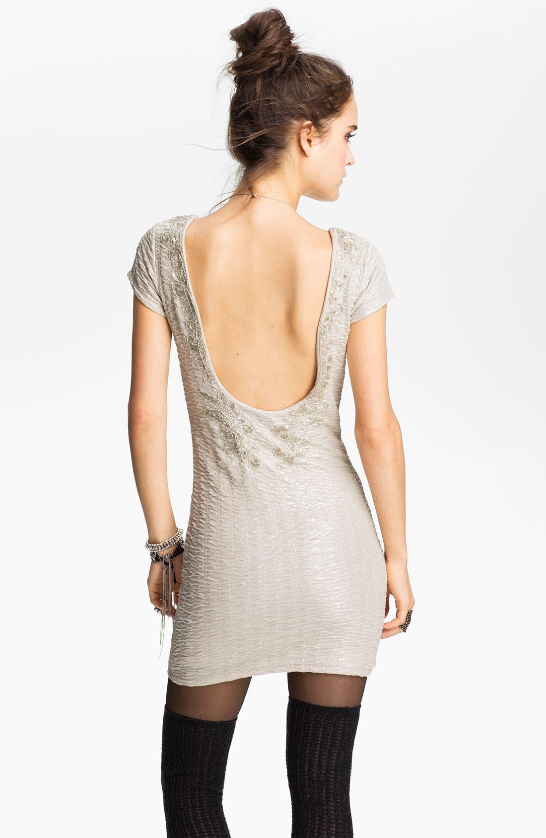 Embellished U-Back Body-Con Dress,                             Alternate thumbnail 2, color,                             Champagne Combo