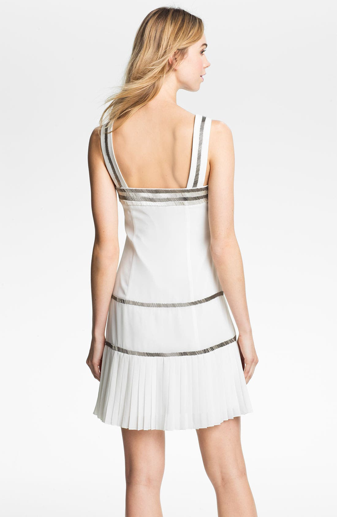 Alternate Image 2  - Vince Camuto Metallic Bead Trim Chiffon Shift Dress