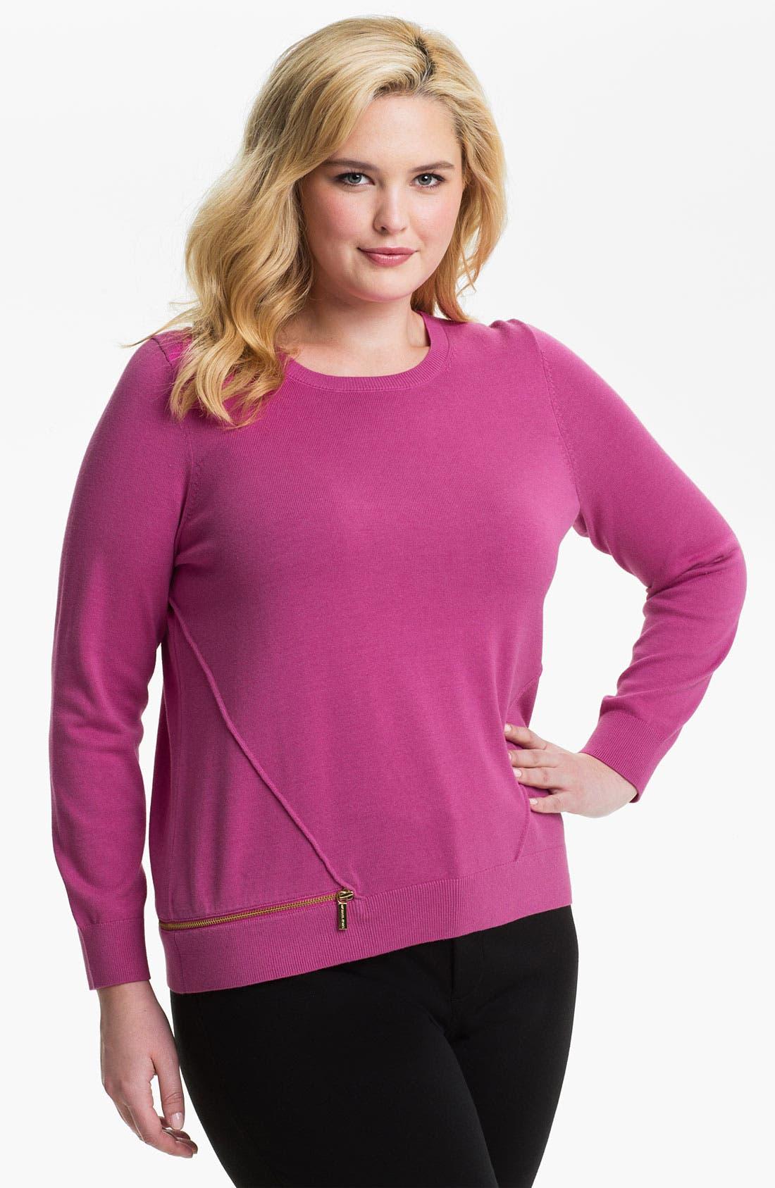 Alternate Image 1 Selected - MICHAEL Michael Kors Zip Detail Sweater (Plus)
