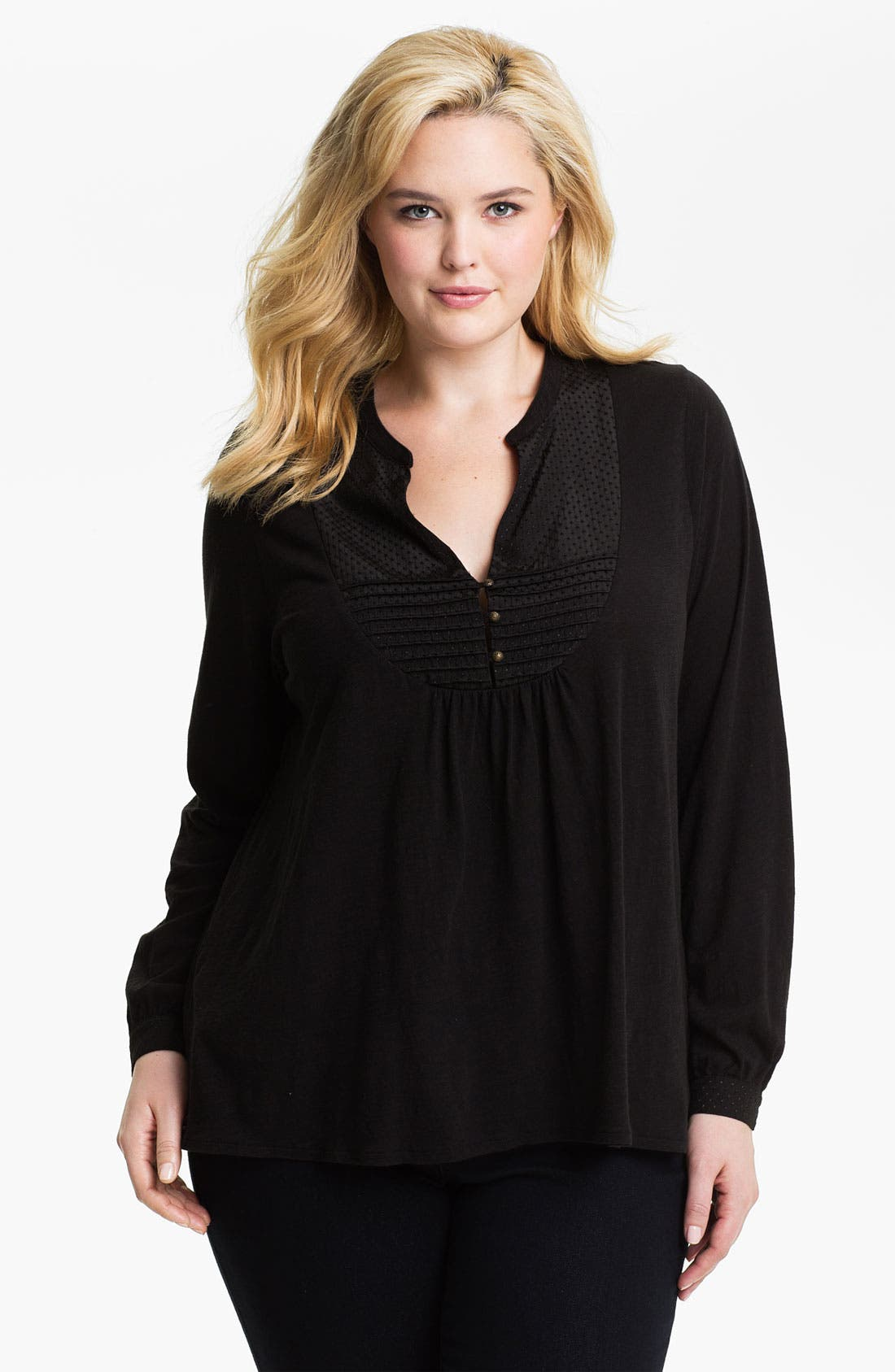 Main Image - Lucky Brand 'Lexie' Peasant Top (Plus)