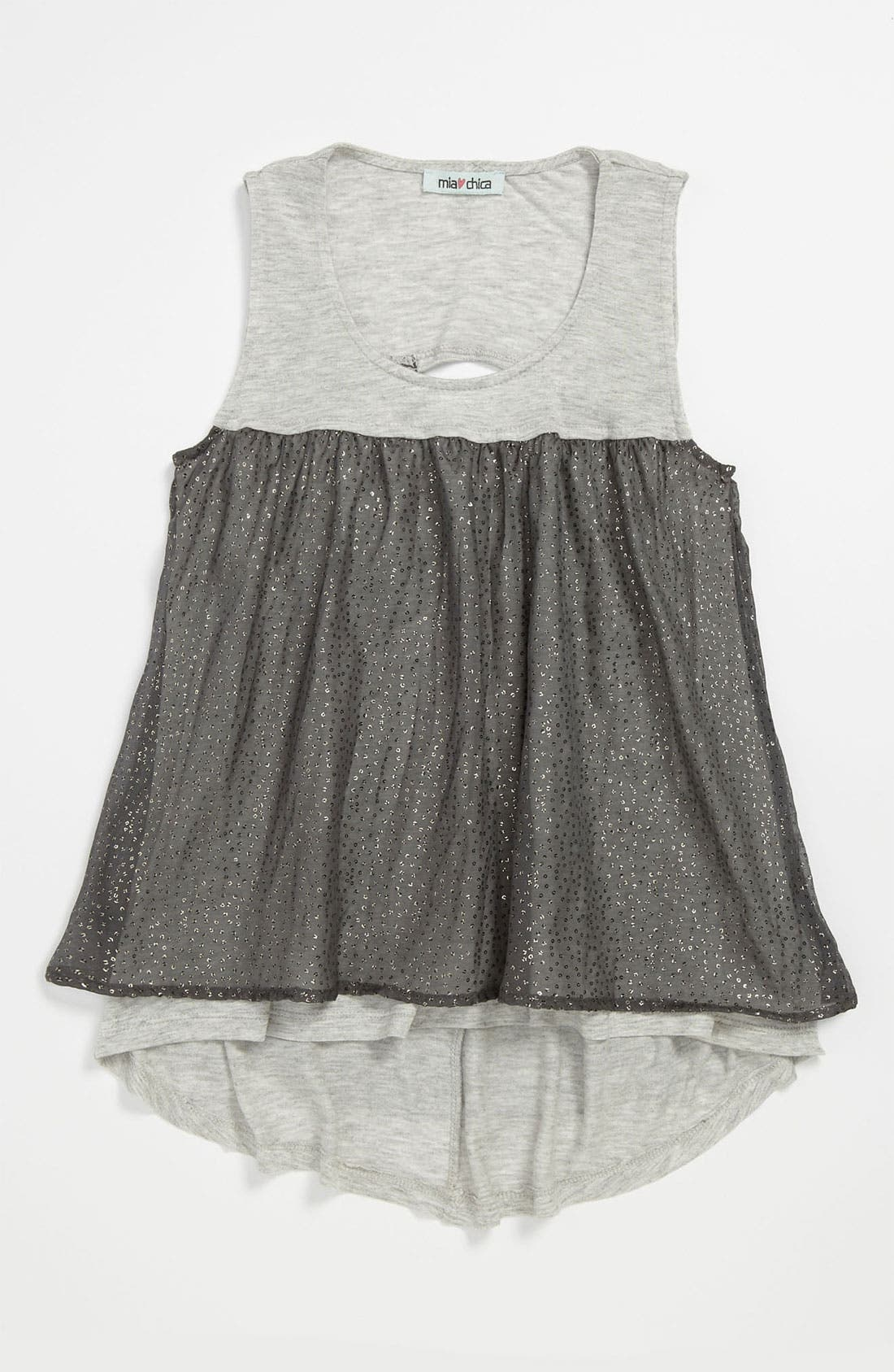 Alternate Image 1 Selected - Mia Chica Chiffon Tank Top (Big Girls)