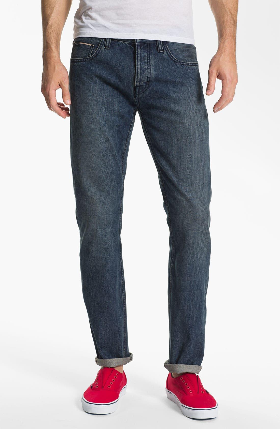 Alternate Image 2  - RVCA Super Slim Straight Leg Selvedge Jeans (Easy Does It)