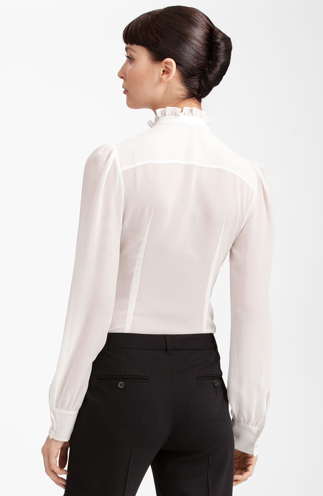 Alternate Image 2  - Dolce&Gabbana Ruffle Front Georgette Blouse