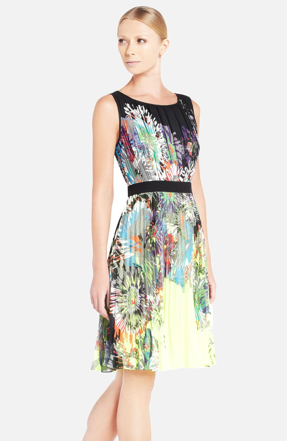 Alternate Image 1 Selected - BCBGMAXAZRIA 'Sierra' Floral Print Pleated Dress