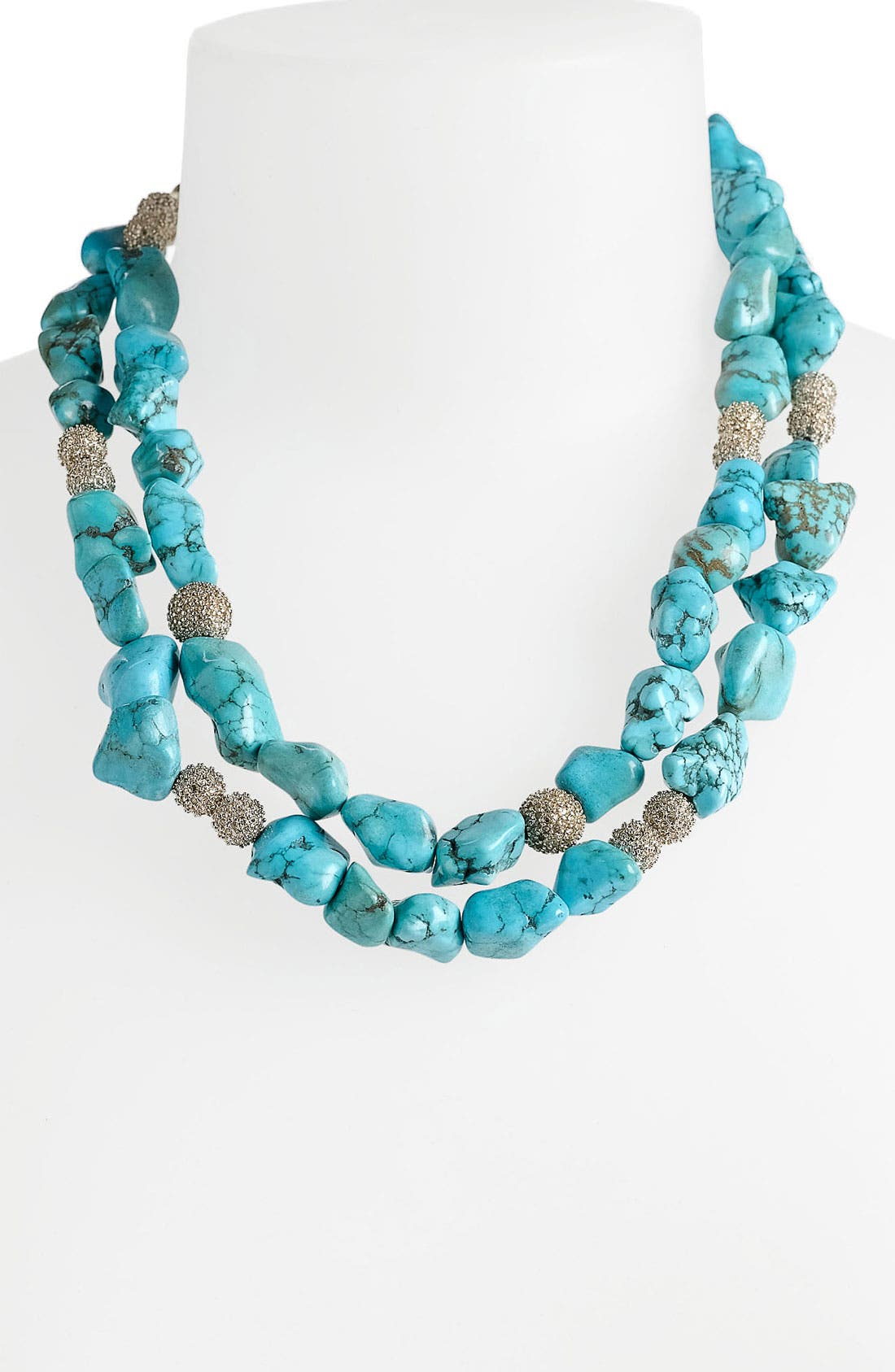 Alternate Image 1 Selected - St. John Collection Double Strand Turquoise & Crystal Necklace