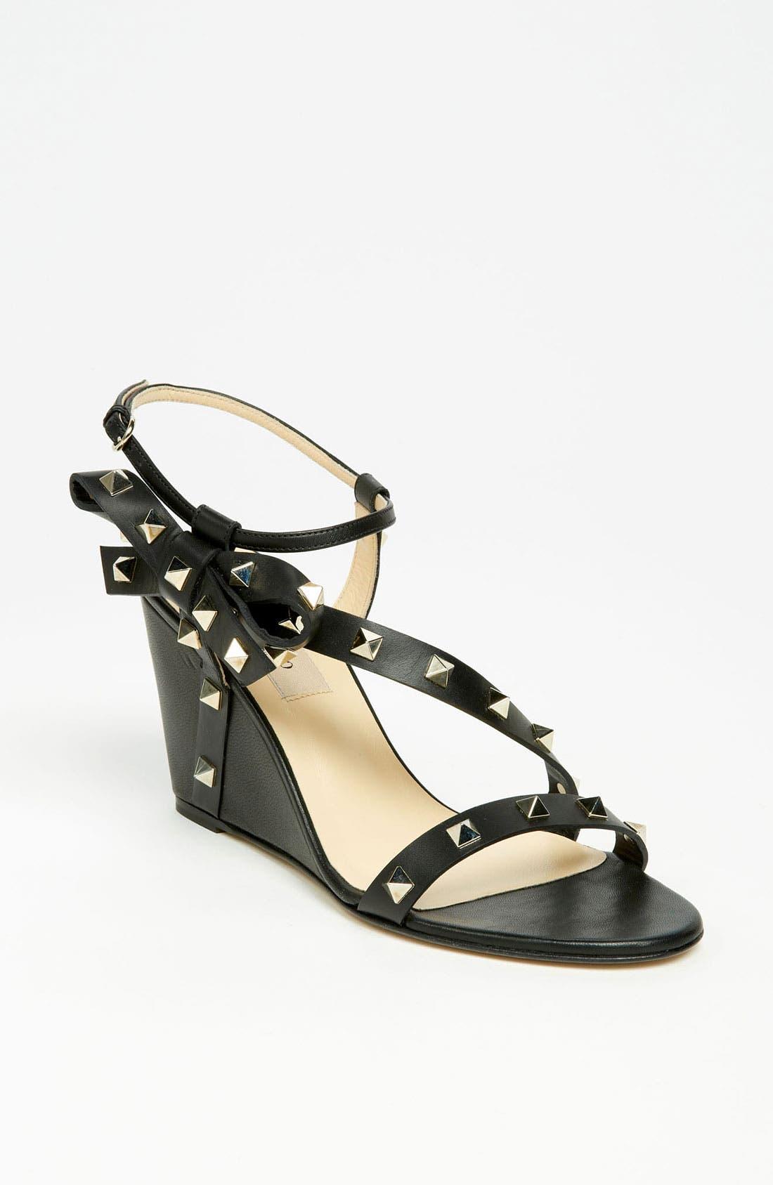 Main Image - VALENTINO GARAVANI 'Rockstud' Wedge Sandal