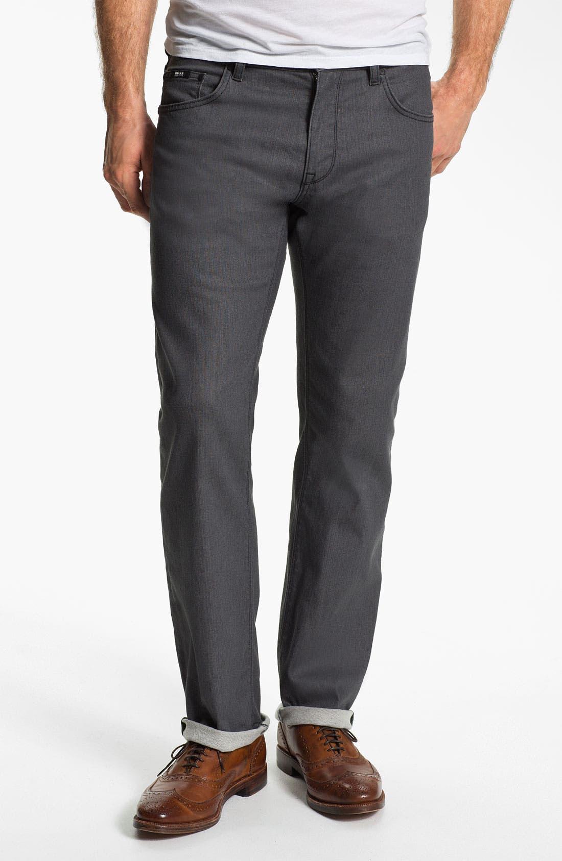 Alternate Image 1 Selected - BOSS Black 'Maine' Straight Leg Jeans (Grey Denim)