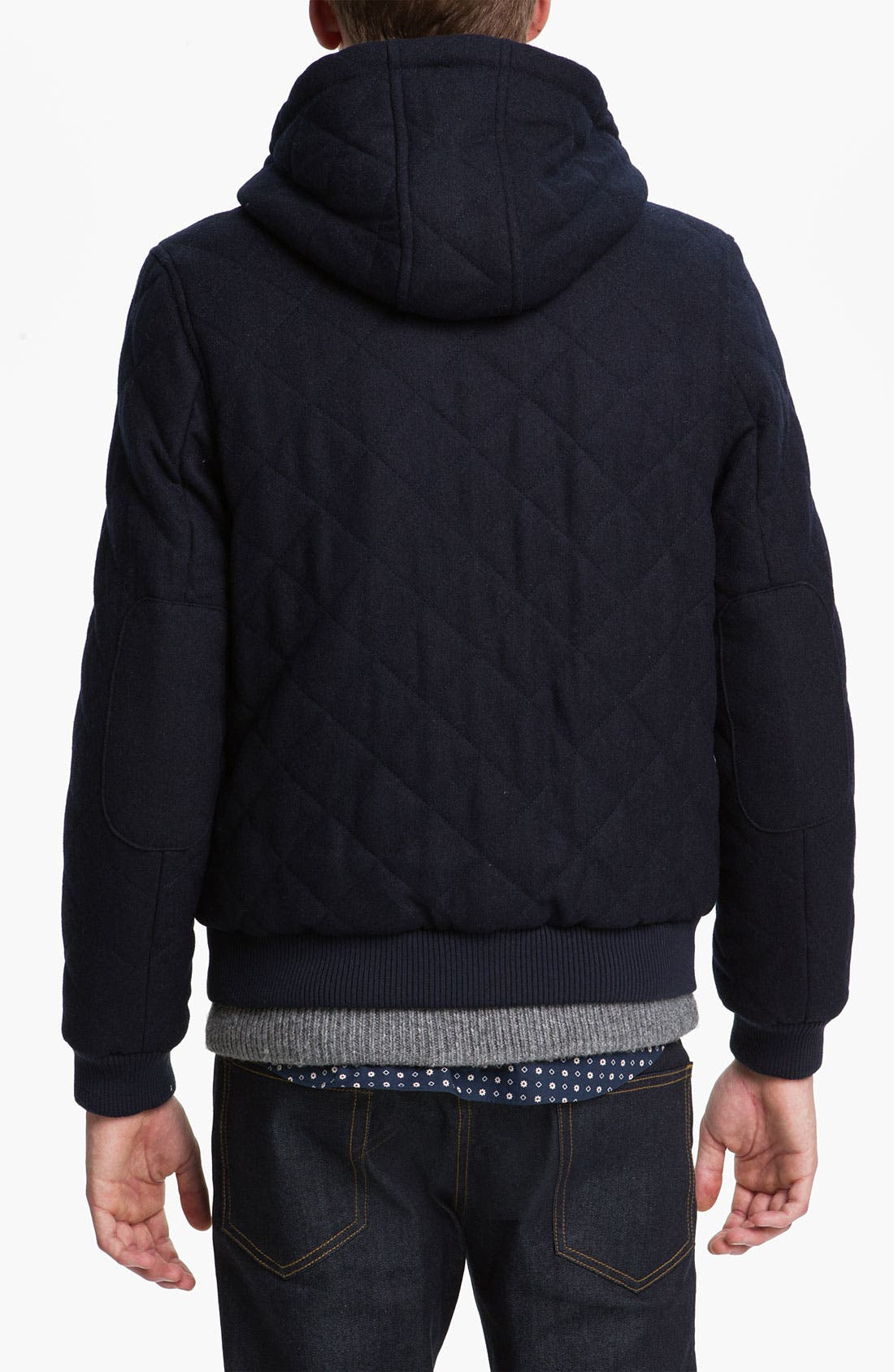 Alternate Image 2  - Topman Quilted Hooded Bomber Jacket
