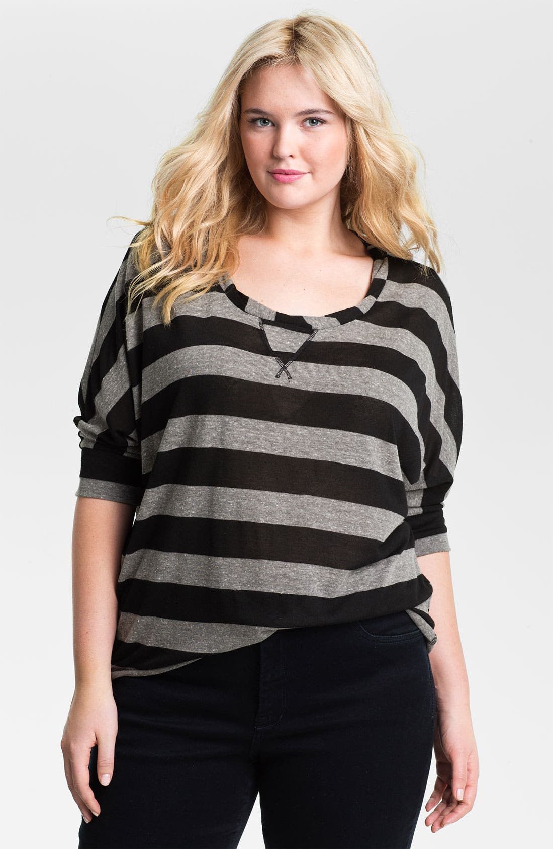 Main Image - Olivia Moon Twist Neck Stripe Tunic (Plus)