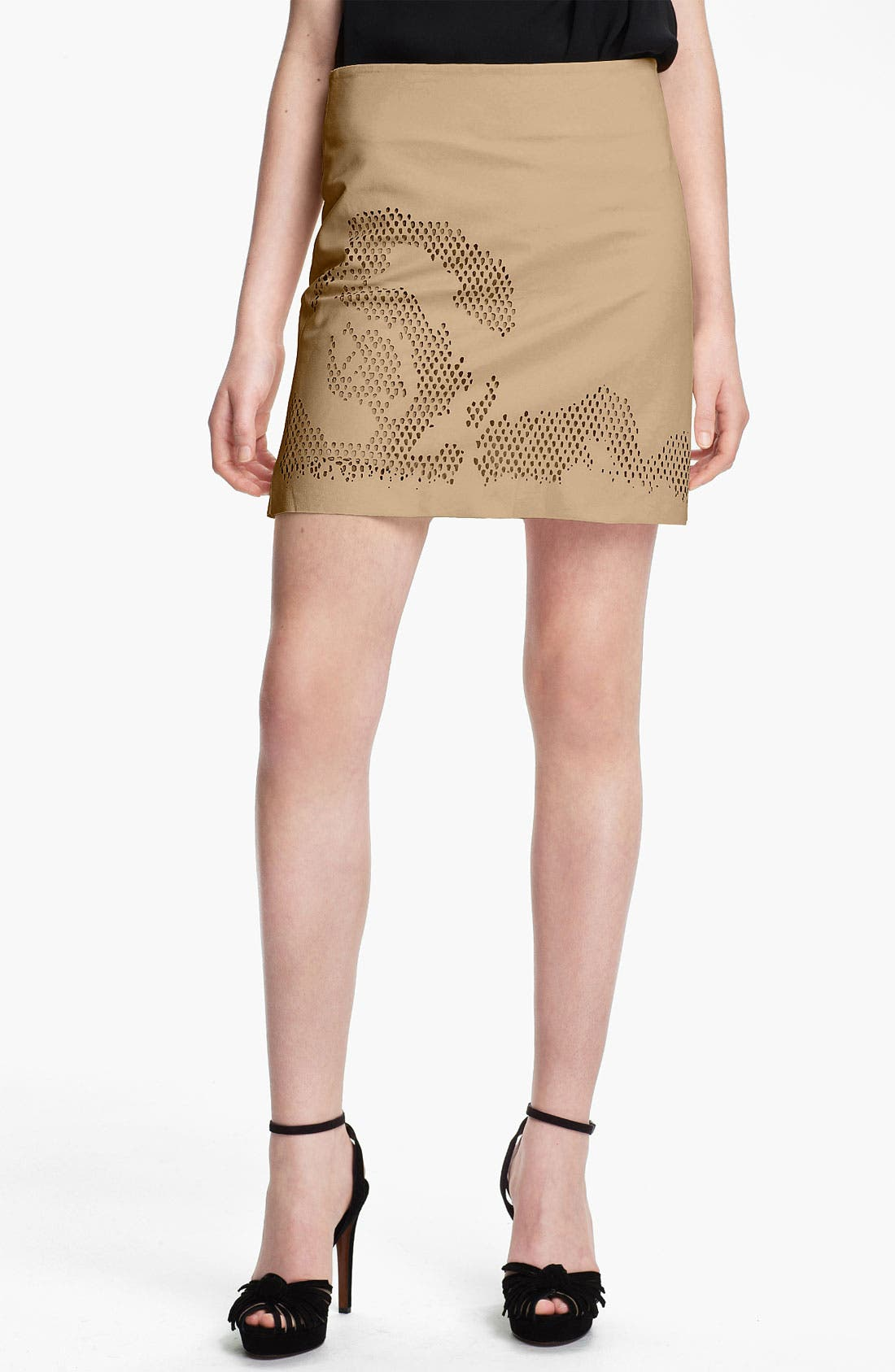 Main Image - Halston Heritage Laser Cut Leather Skirt