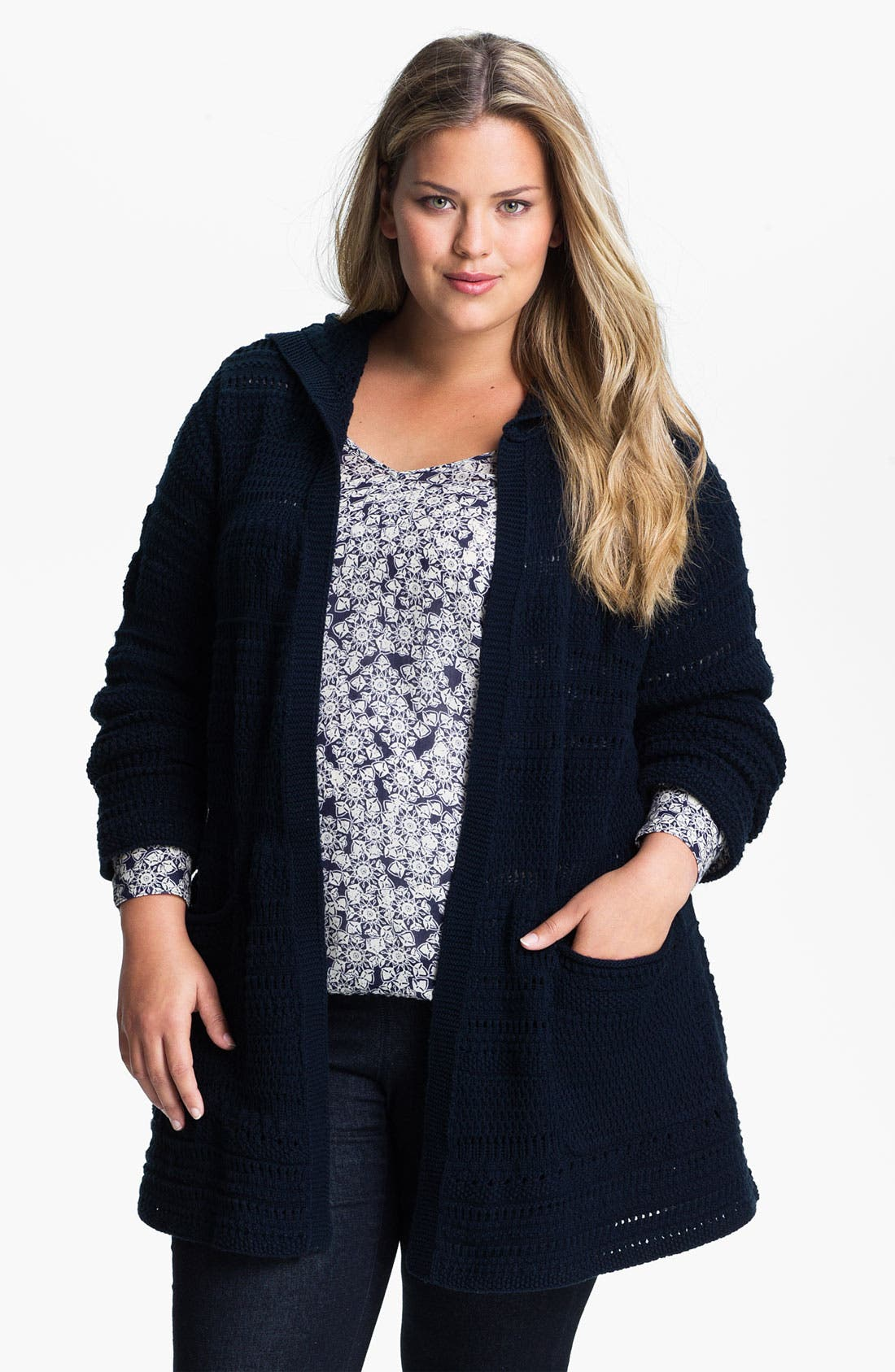 Alternate Image 1 Selected - Lucky Brand Long Hooded Cardigan (Plus)