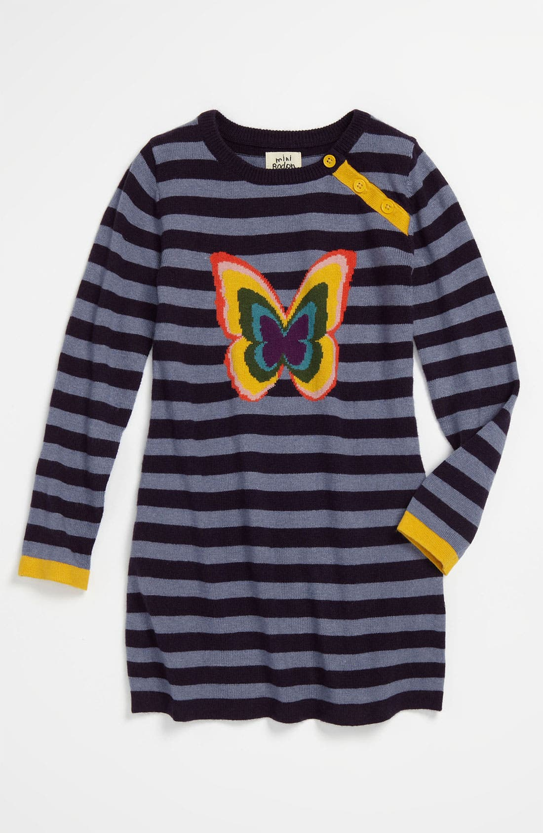 Main Image - Mini Boden 'Stripy Logo' Dress (Toddler)