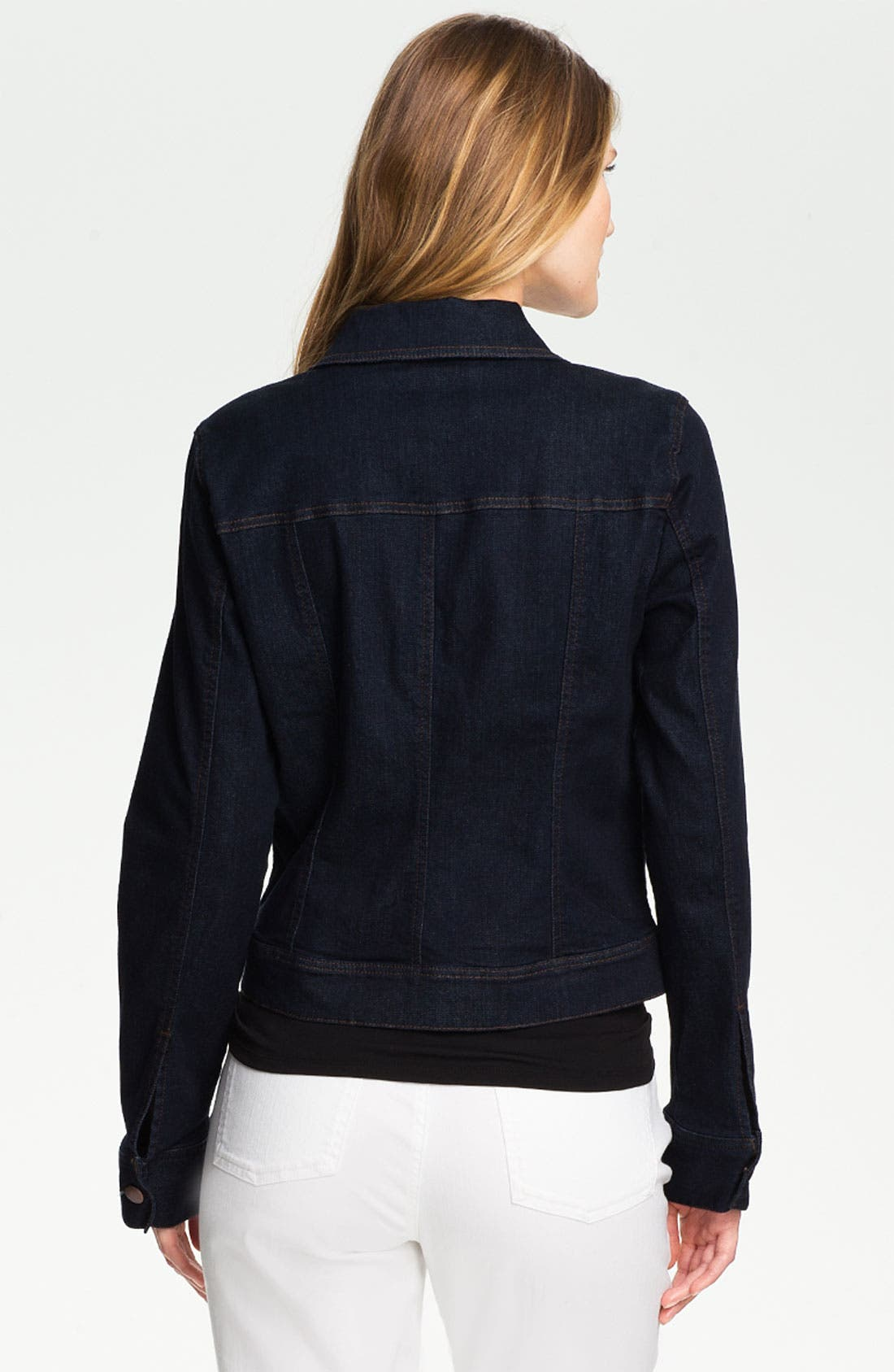 Organic Cotton Blend Denim Jacket,                             Alternate thumbnail 2, color,                             Indigo