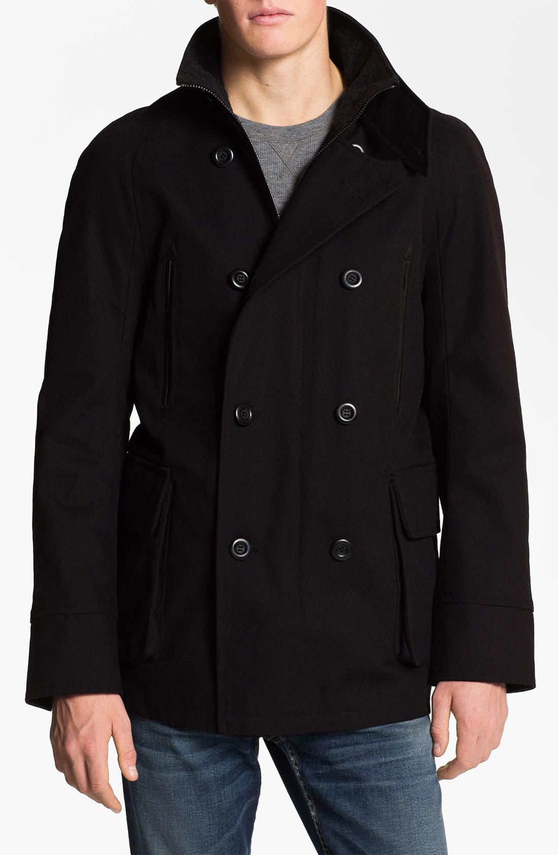 Main Image - PLECTRUM by Ben Sherman Twill Peacoat