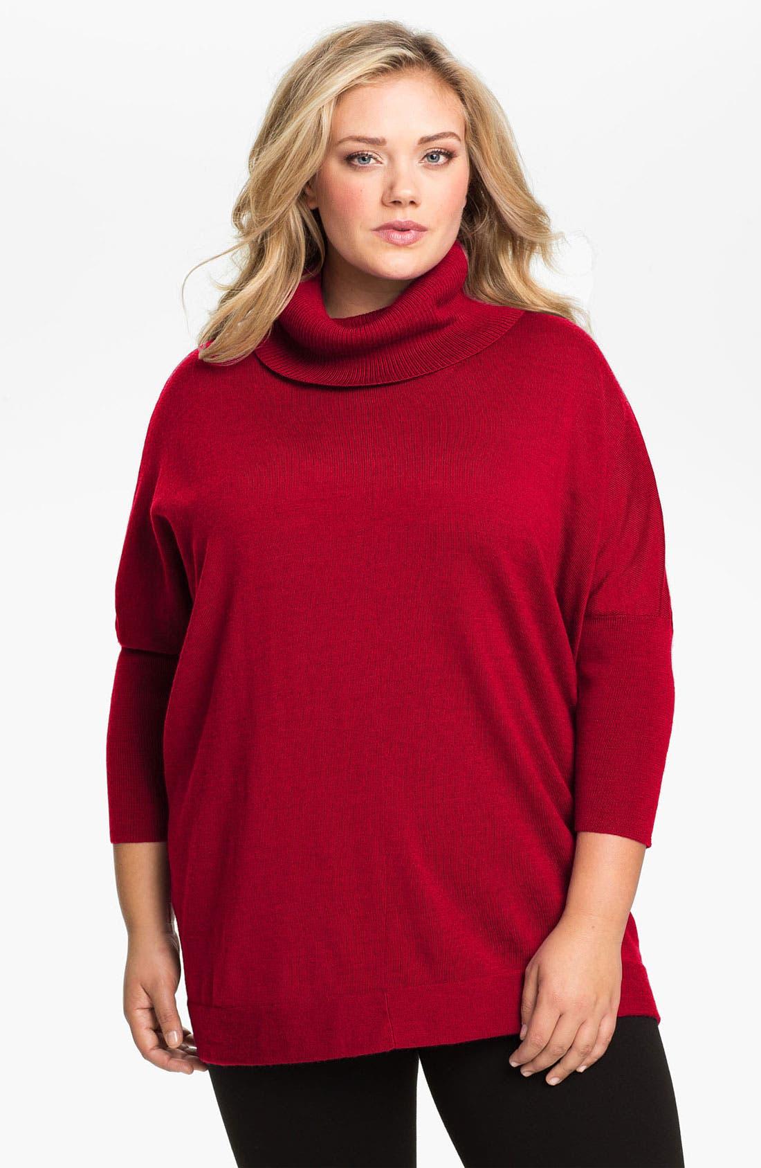 Alternate Image 1 Selected - Eileen Fisher Merino Wool Funnel Neck Sweater (Plus)