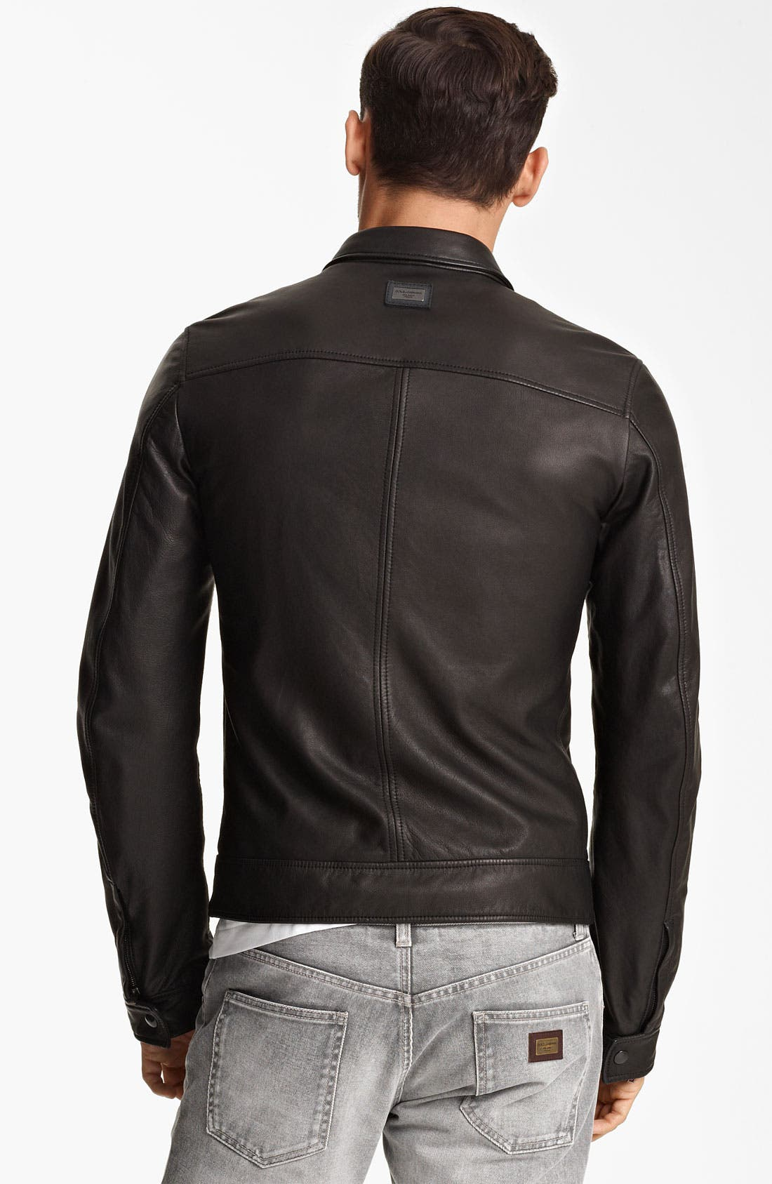 Alternate Image 2  - Dolce&Gabbana Leather Biker Jacket