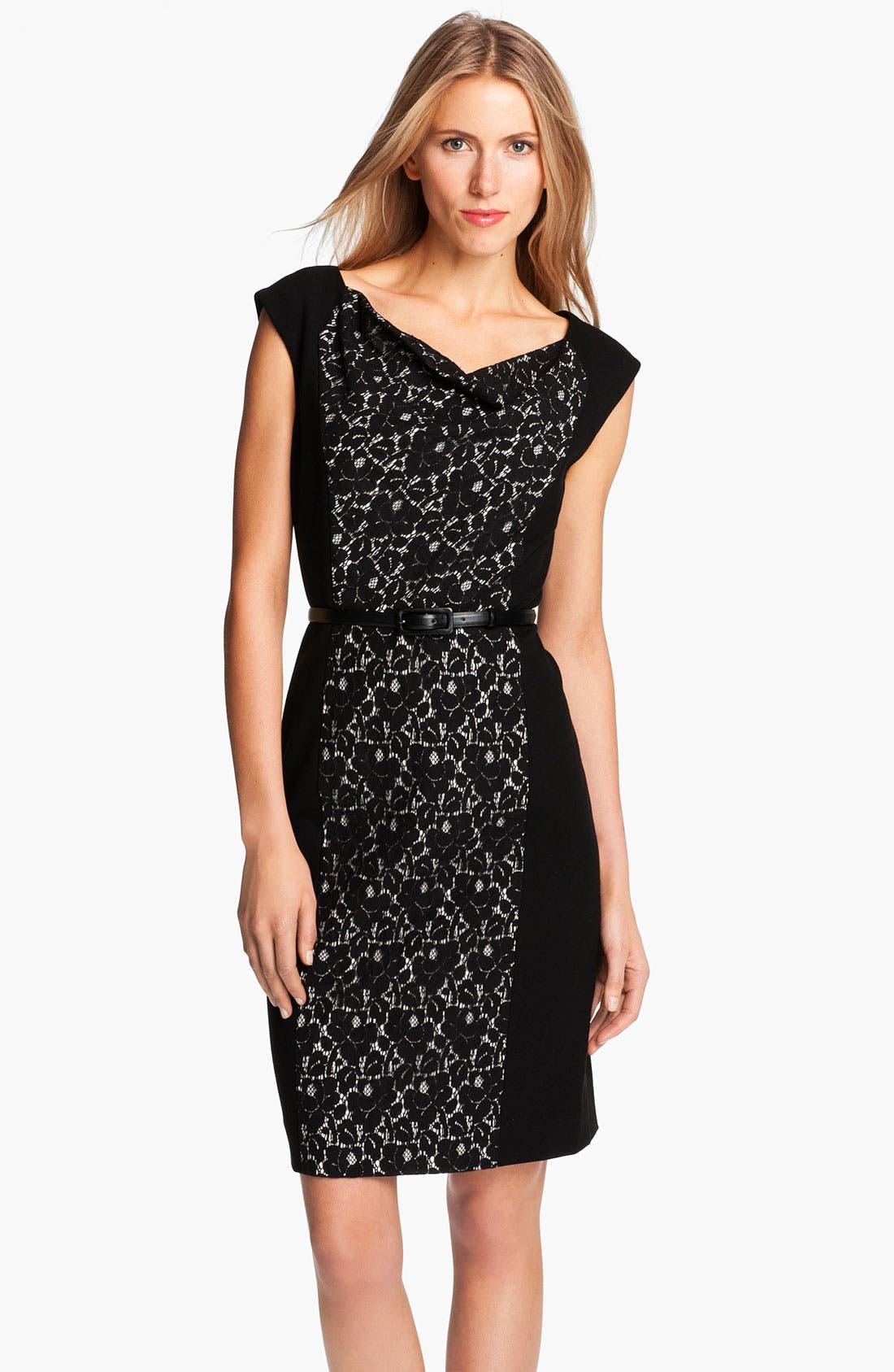 Alternate Image 1 Selected - Classiques Entier® Belted Lace & Ponte Dress