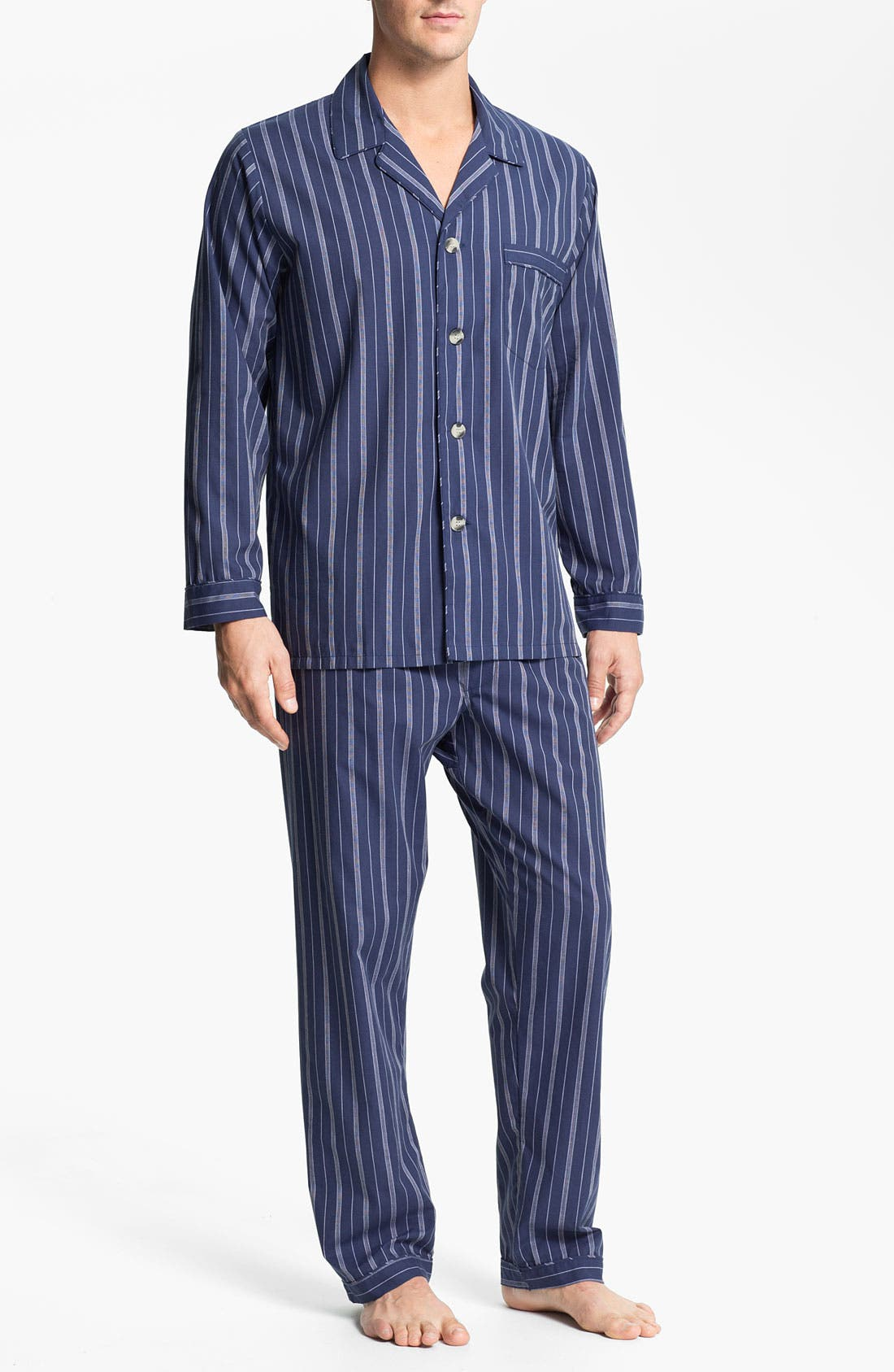 Alternate Image 1 Selected - Majestic International Stripe Easy Care Pajama Set (Big & Tall)