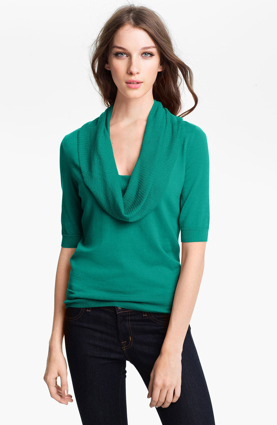 Alternate Image 1 Selected - Halogen® Cowl Neck Elbow Sleeve Sweater