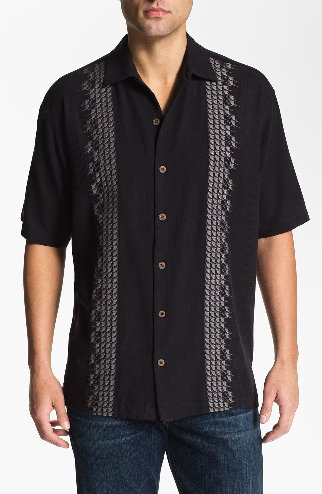 Main Image - Tommy Bahama 'Sand Deco' Silk Campshirt