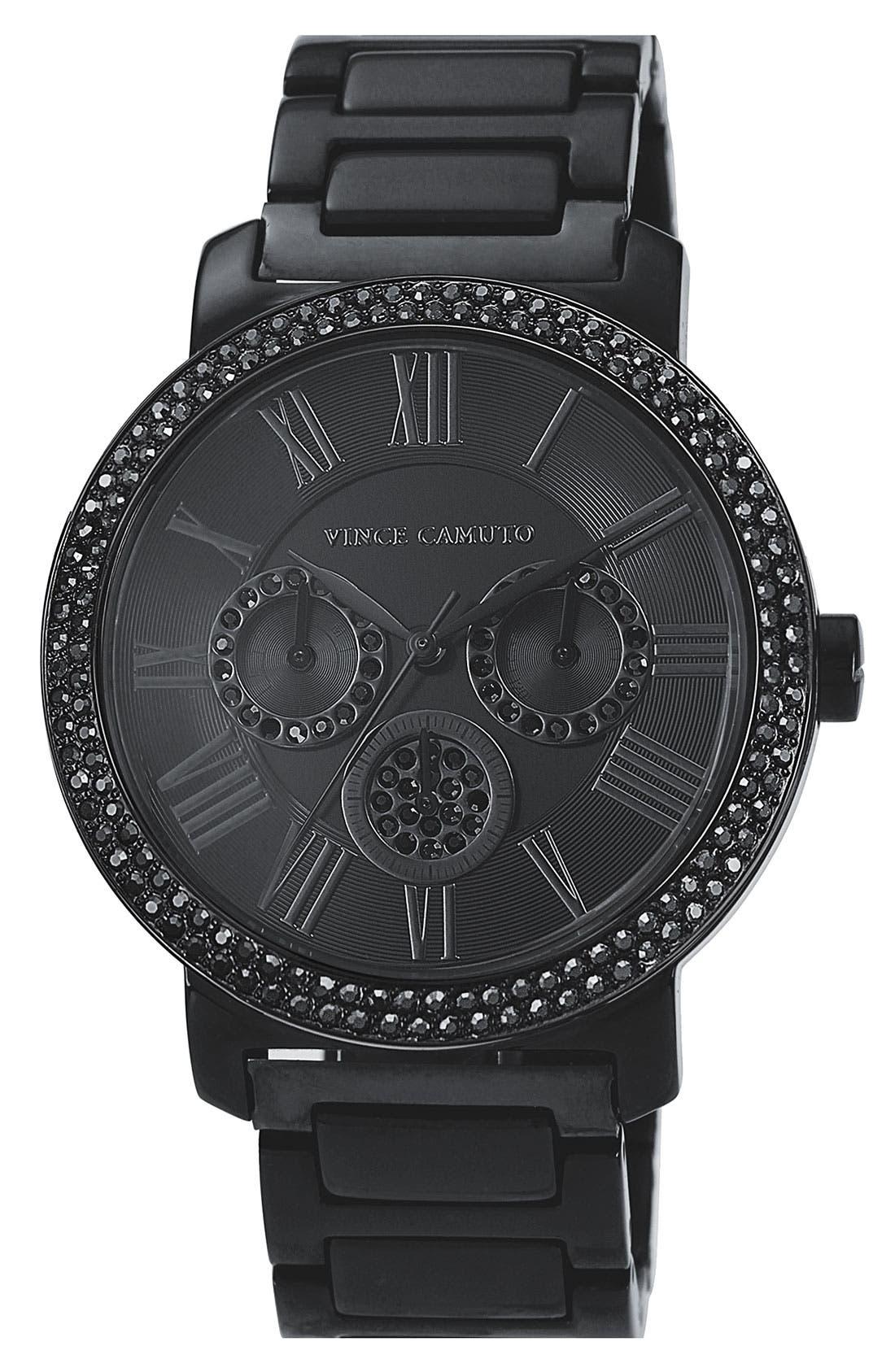 Main Image - Vince Camuto Crystal Bezel Chronograph Bracelet Watch, 42mm