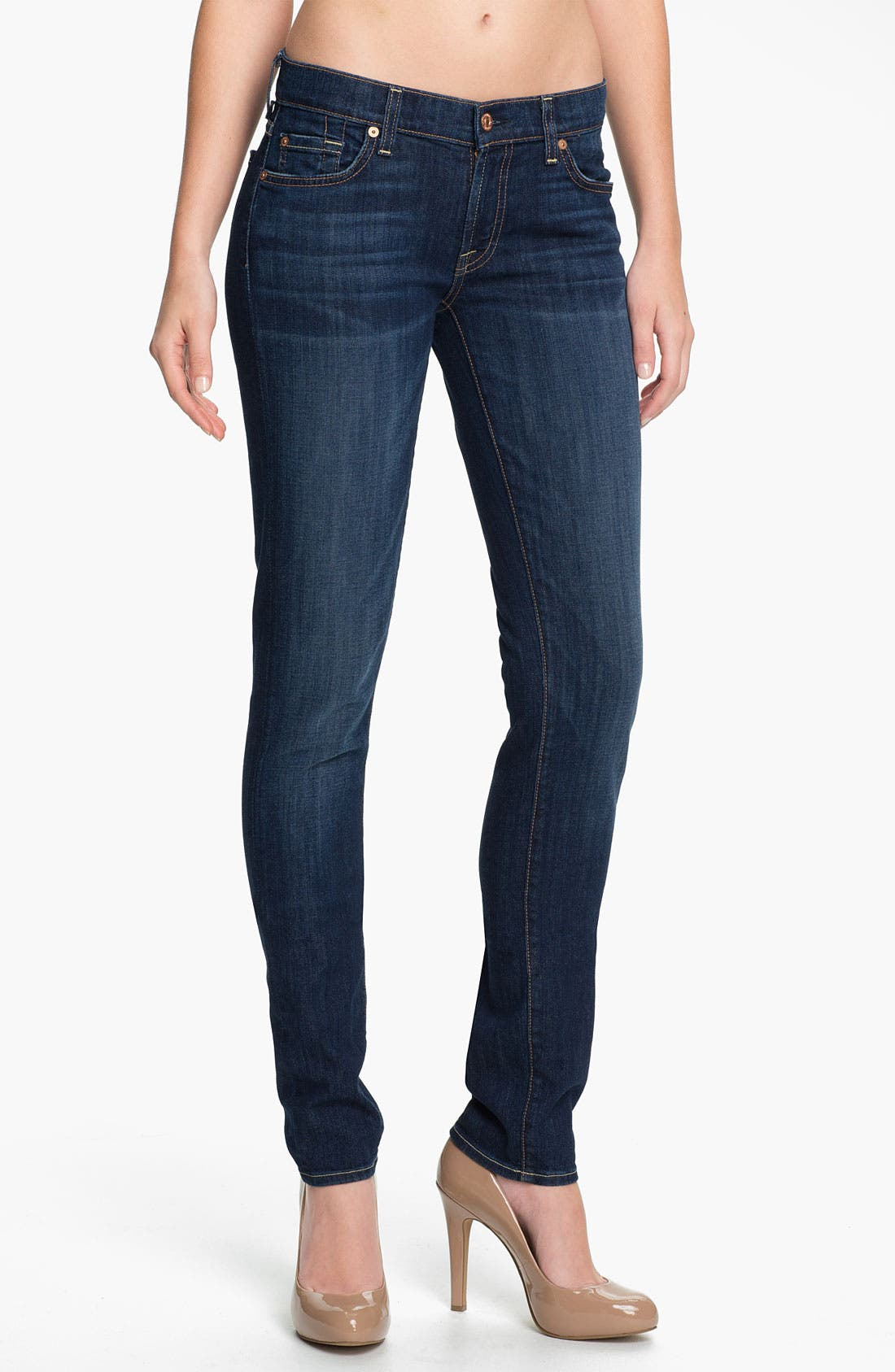 Main Image - 7 For All Mankind® 'Roxanne' Skinny Stretch Jeans (Warm Medium Blue)