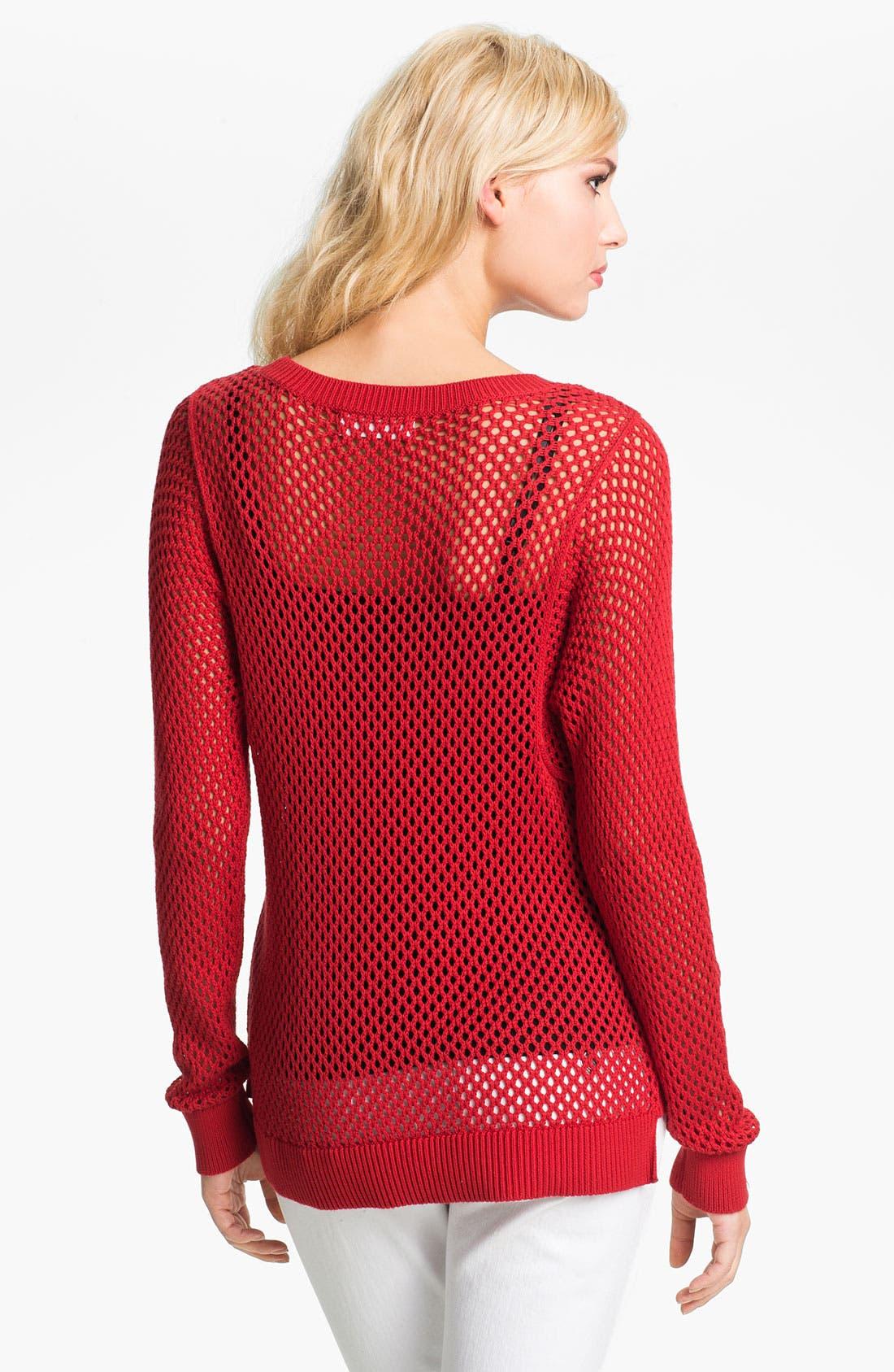 Alternate Image 2  - MICHAEL Michael Kors Crewneck Mesh Sweater