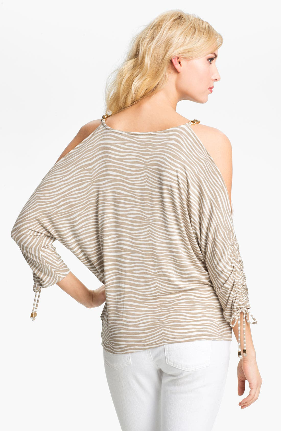 Alternate Image 2  - MICHAEL Michael Kors Zebra Print Cold Shoulder Top