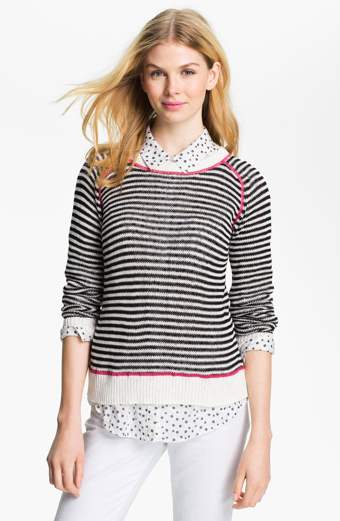 Alternate Image 1 Selected - Caslon® Contrast Stitch Crewneck Sweater