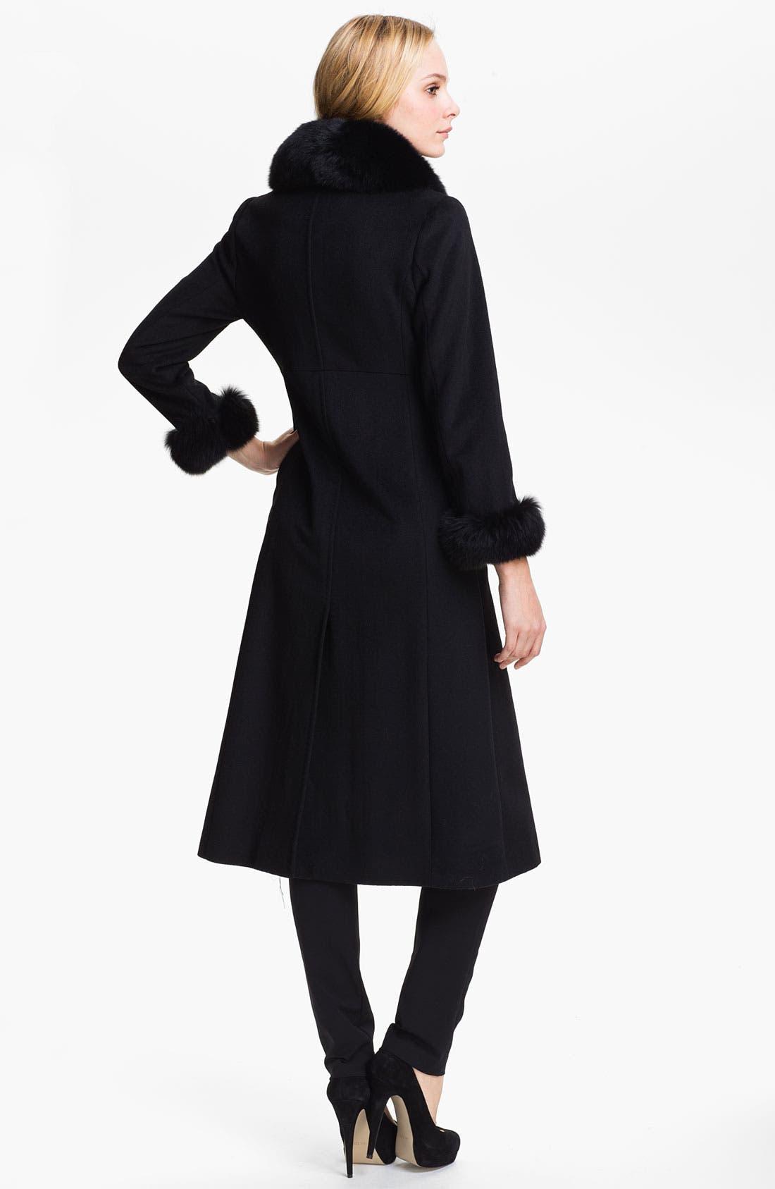 Alternate Image 2  - Ellen Tracy Genuine Fox Fur Trim Wrap Coat (Petite)