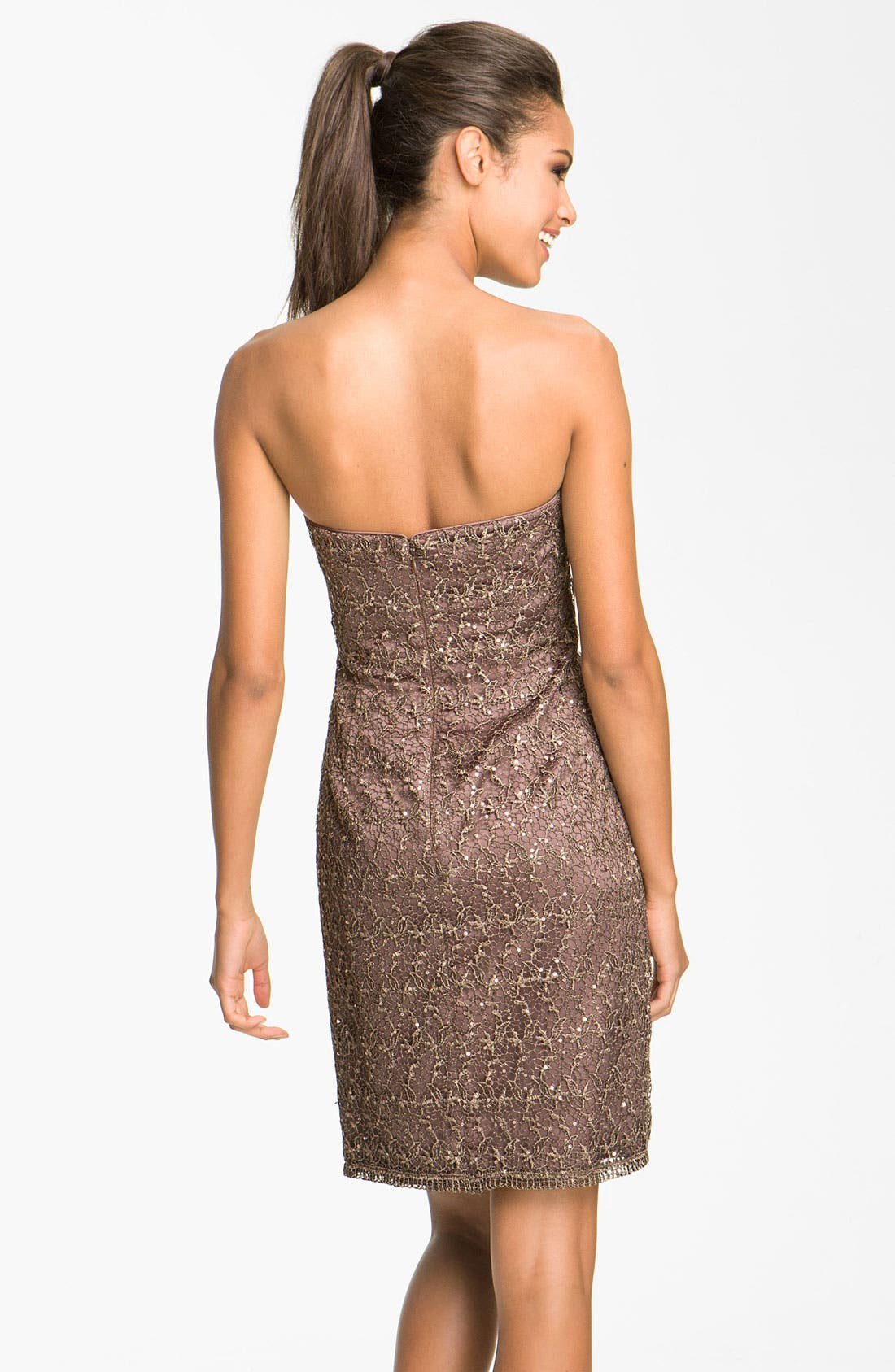 Alternate Image 2  - Adrianna Papell Strapless Sequin & Lace Sheath Dress (Petite)