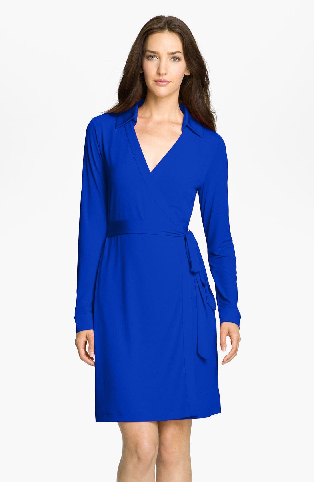 Alternate Image 1 Selected - Calvin Klein Collared Jersey Wrap Dress (Petite)