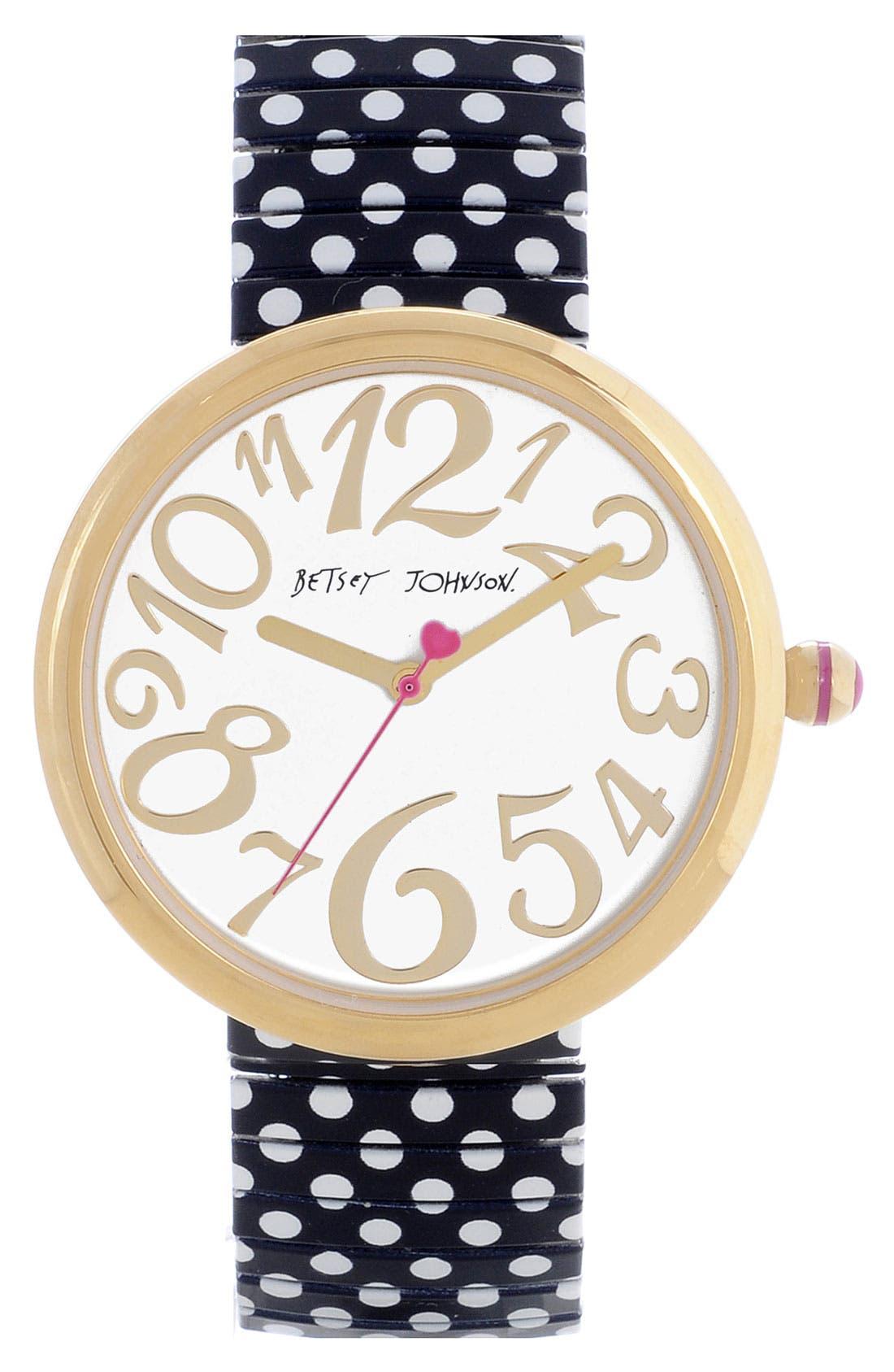 Alternate Image 1 Selected - Betsey Johnson Polka Dot Expansion Band Watch