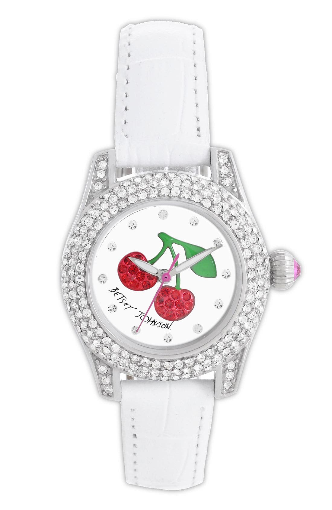 Alternate Image 1 Selected - Betsey Johnson Cherry Dial Pavé Crystal Watch